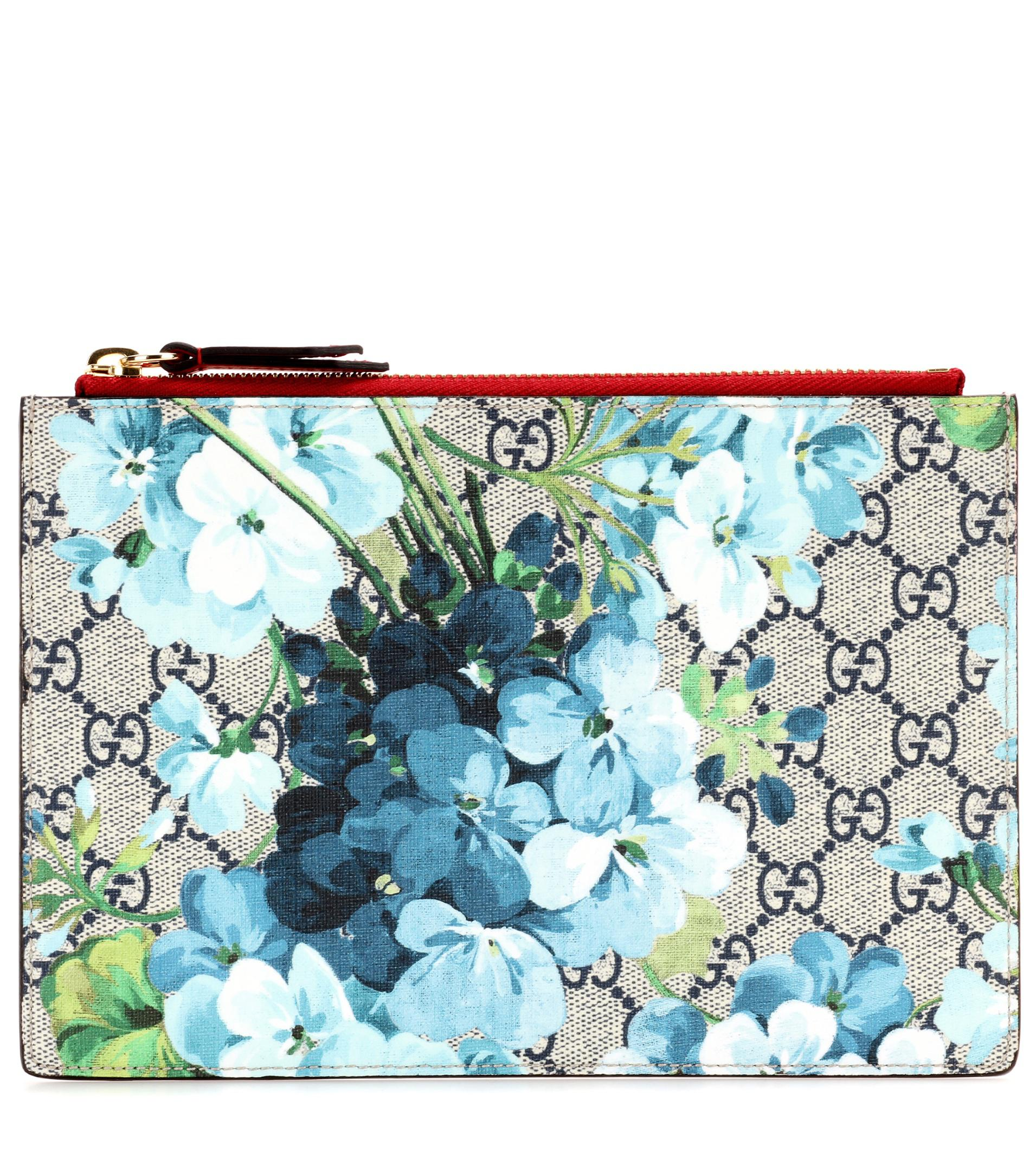 1fd712f20ee Lyst - Gucci Blooms Gg Supreme Printed Canvas And Leather Clutch in Blue