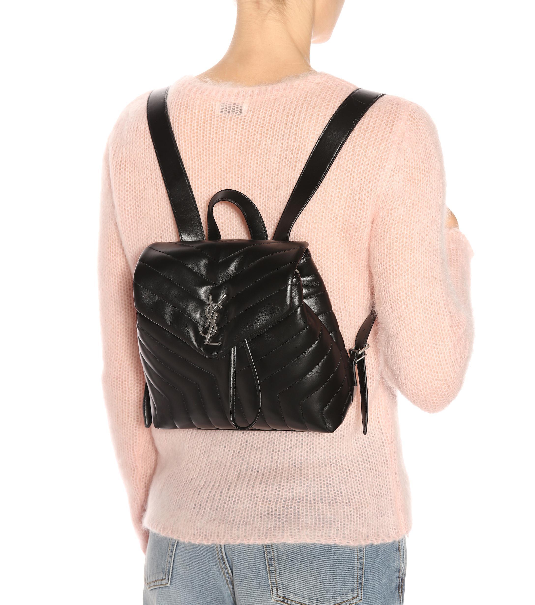6792f44352c1 Saint Laurent - Black Small Loulou Monogram Backpack - Lyst. View fullscreen