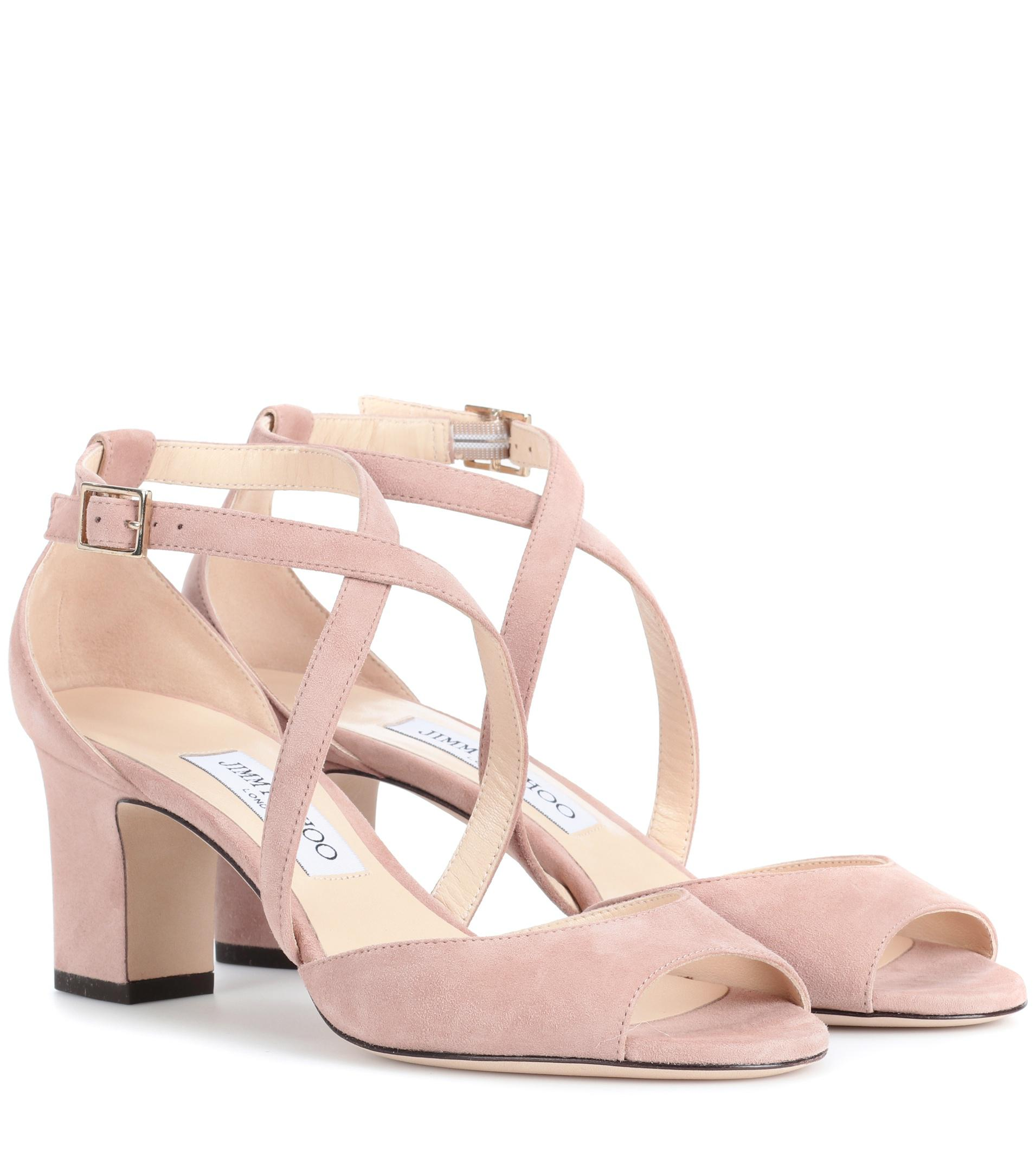 6f18d2bab424 Jimmy Choo Carrie 65 Suede Sandals in Pink - Lyst