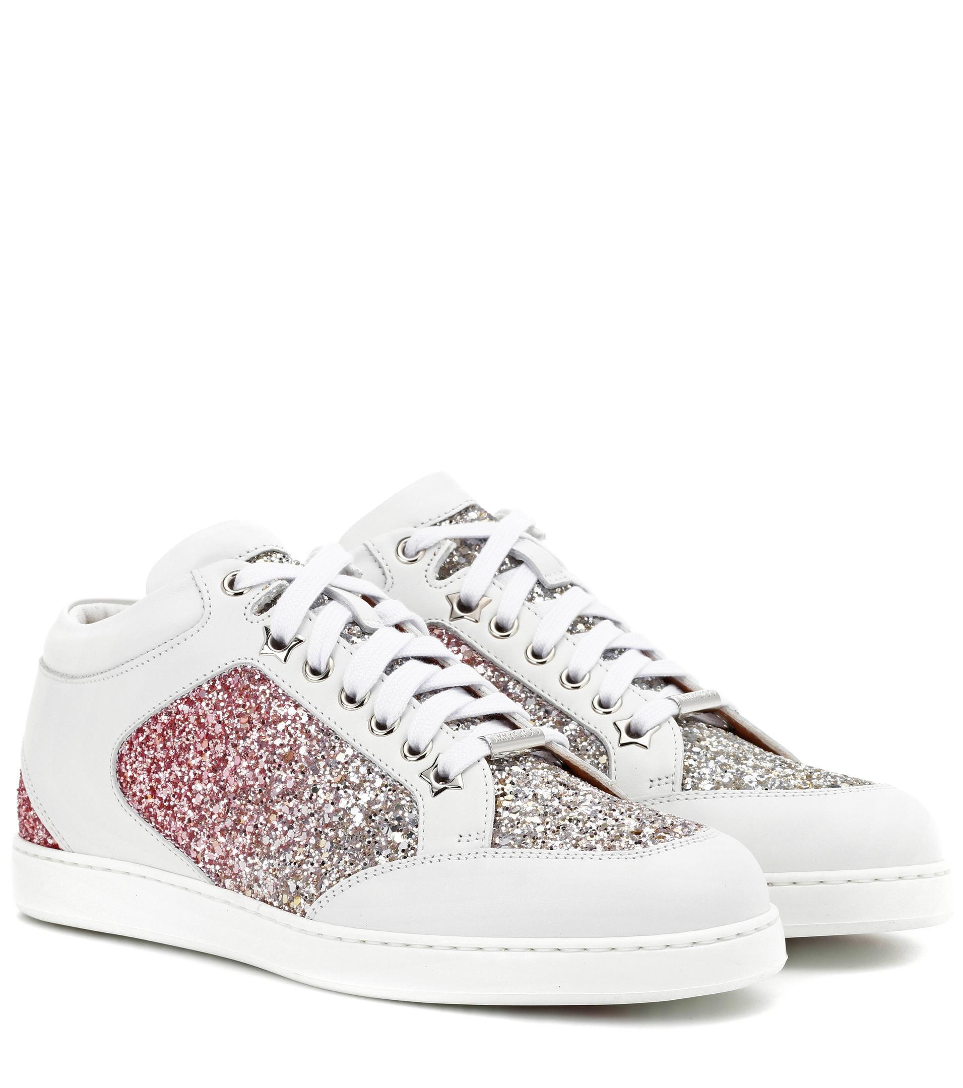 Sneakers MIAMI calfskin glitter Glitter Logo silver Jimmy Choo London OJ2p0