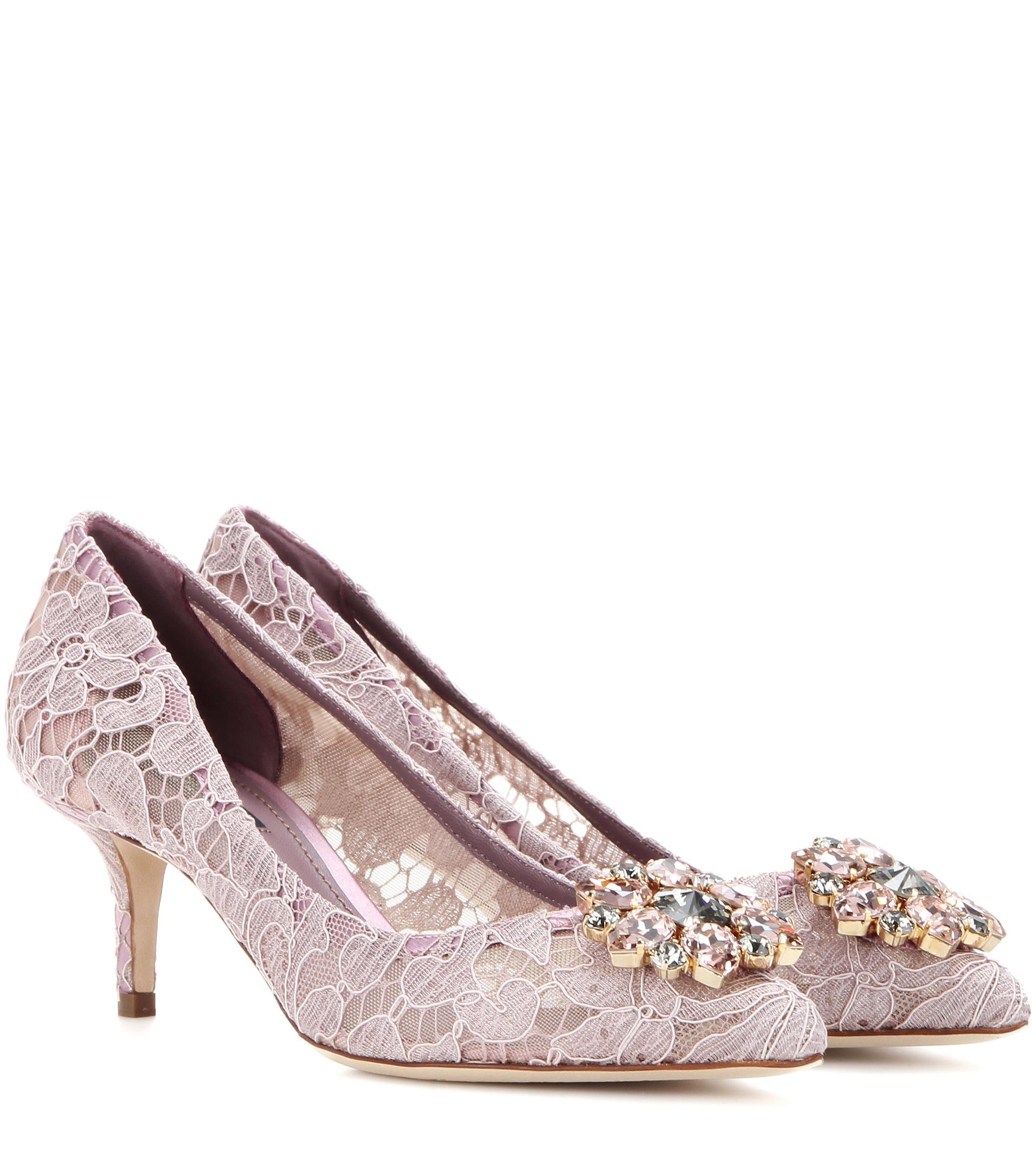 Pink Belucci 90 lace pumps with crystals - Pink & Purple Dolce & Gabbana PzEFLH