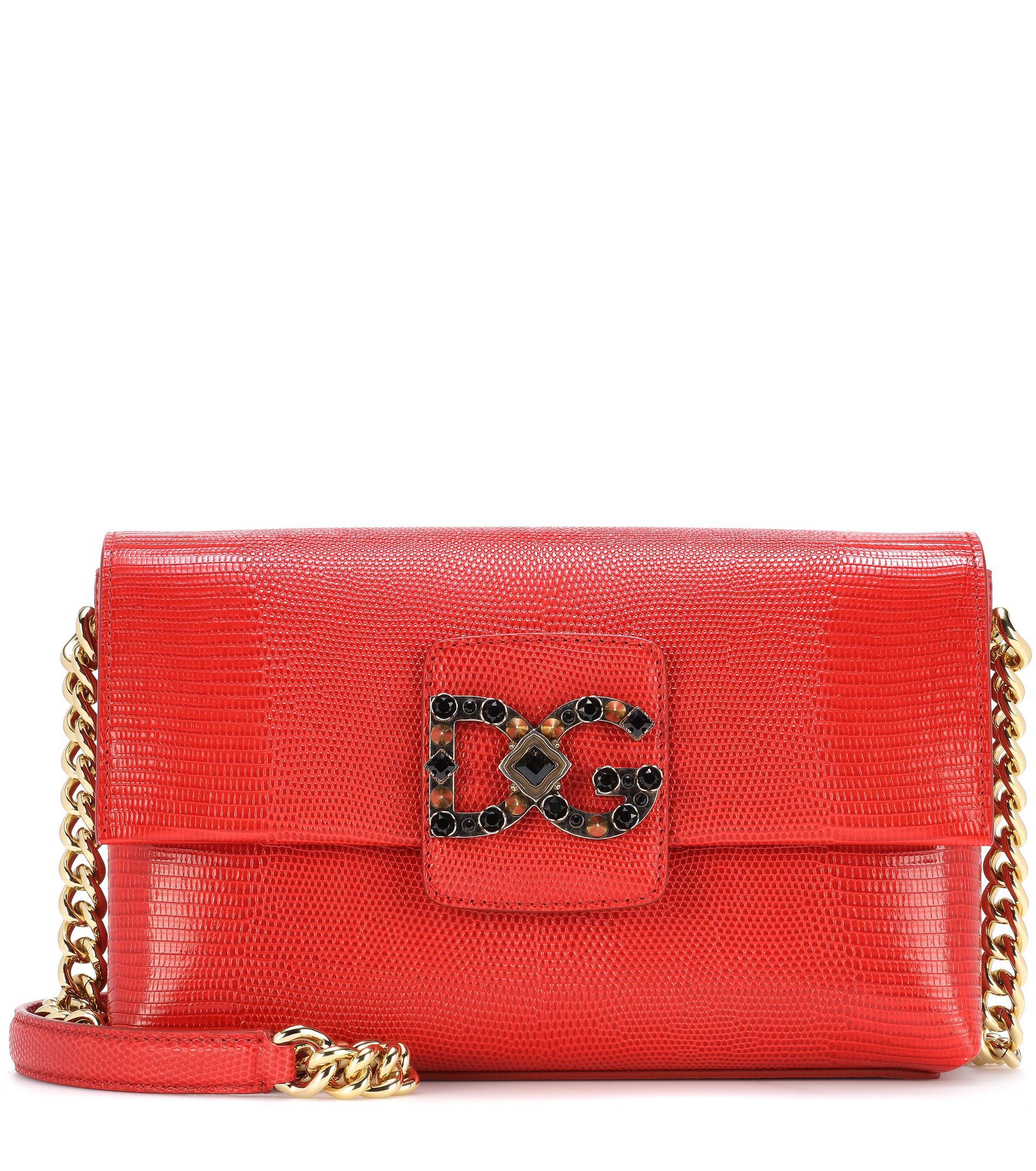 5eab35c302 Lyst - Dolce   Gabbana Dg Millennials Leather Shoulder Bag in Red