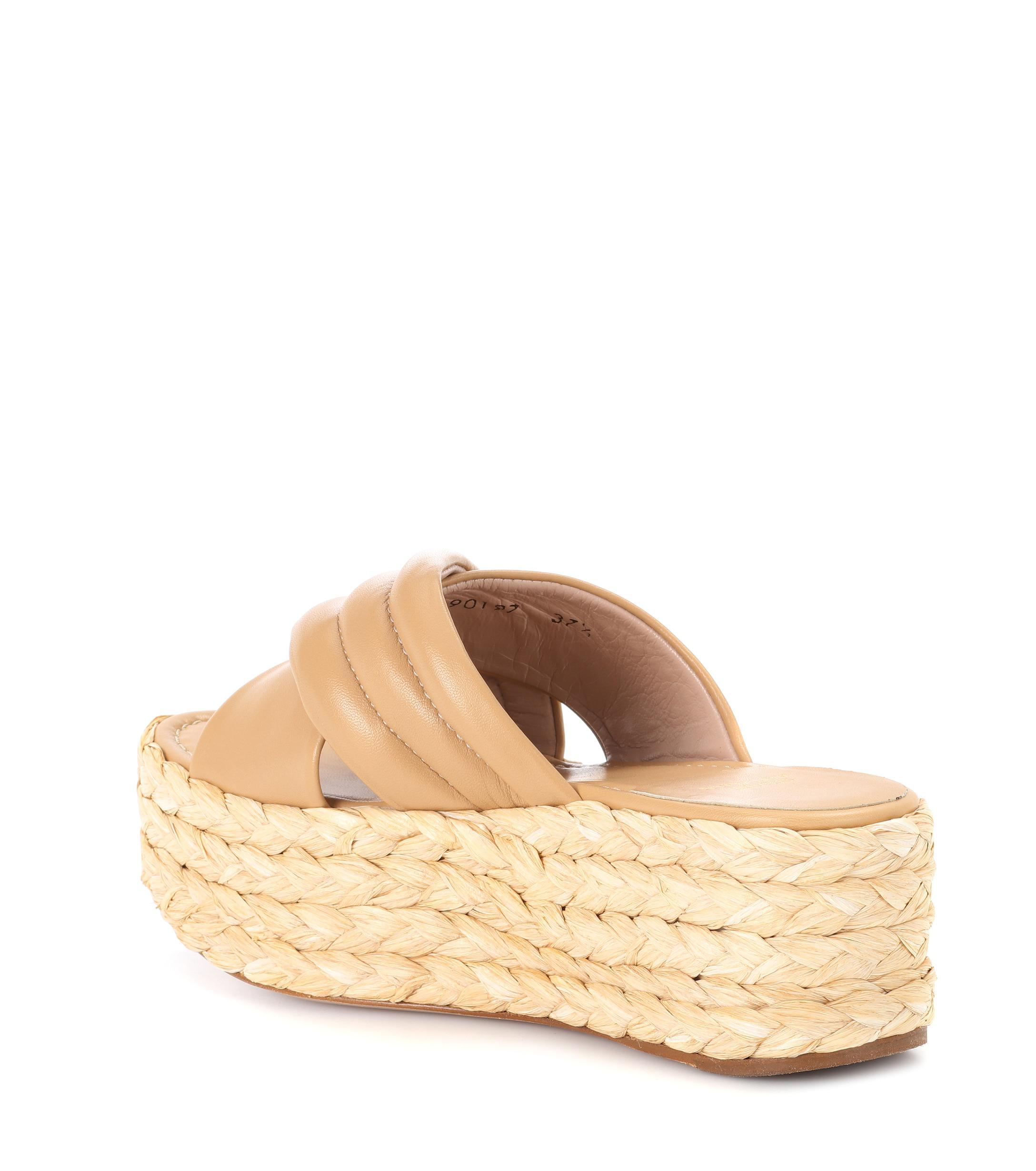 a919a1bd30d Stuart Weitzman - Natural Pufftopraffia Leather Platform Sandals - Lyst.  View fullscreen
