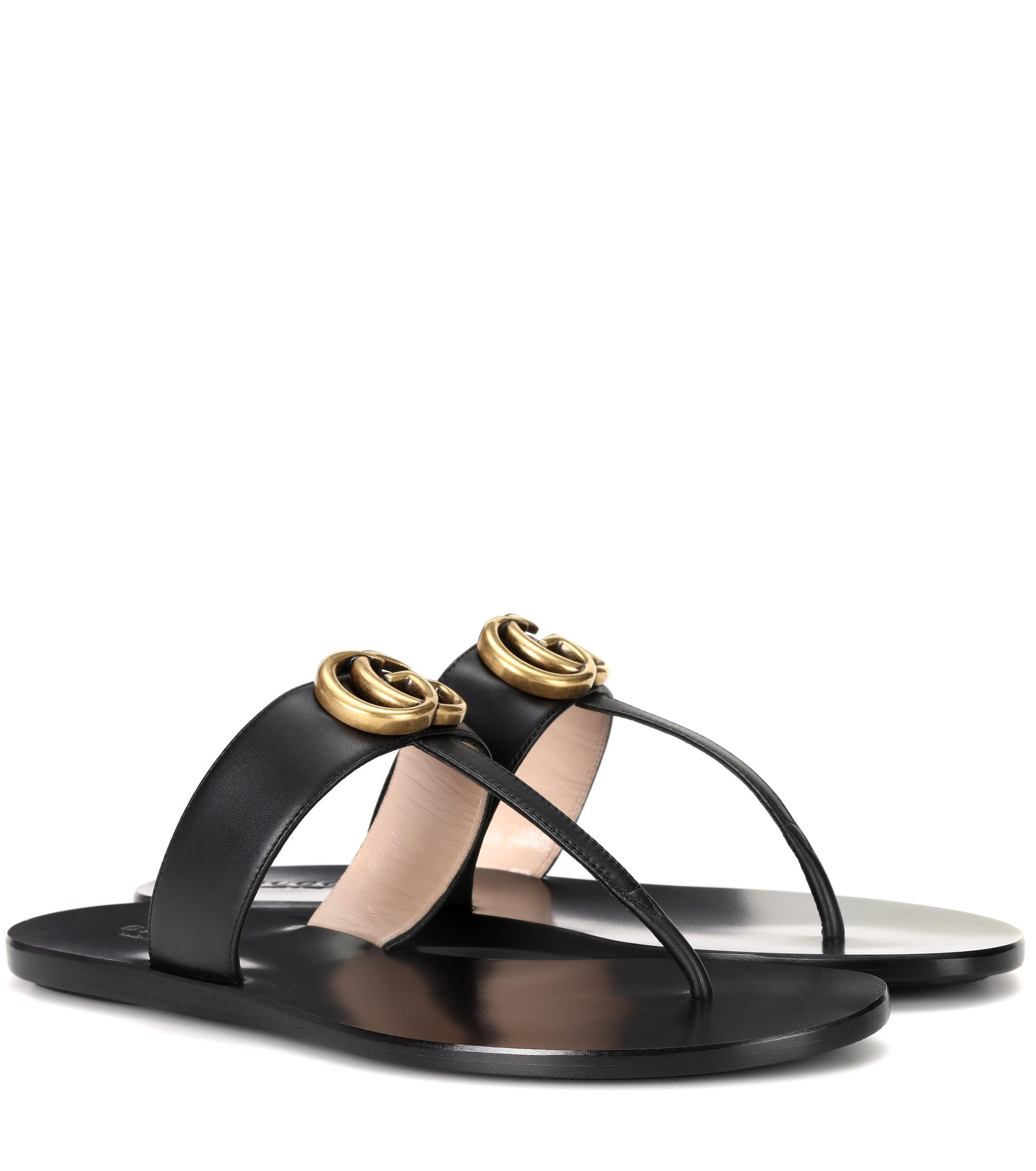 062816feb71 Gucci Double G Leather Sandals in Black - Lyst