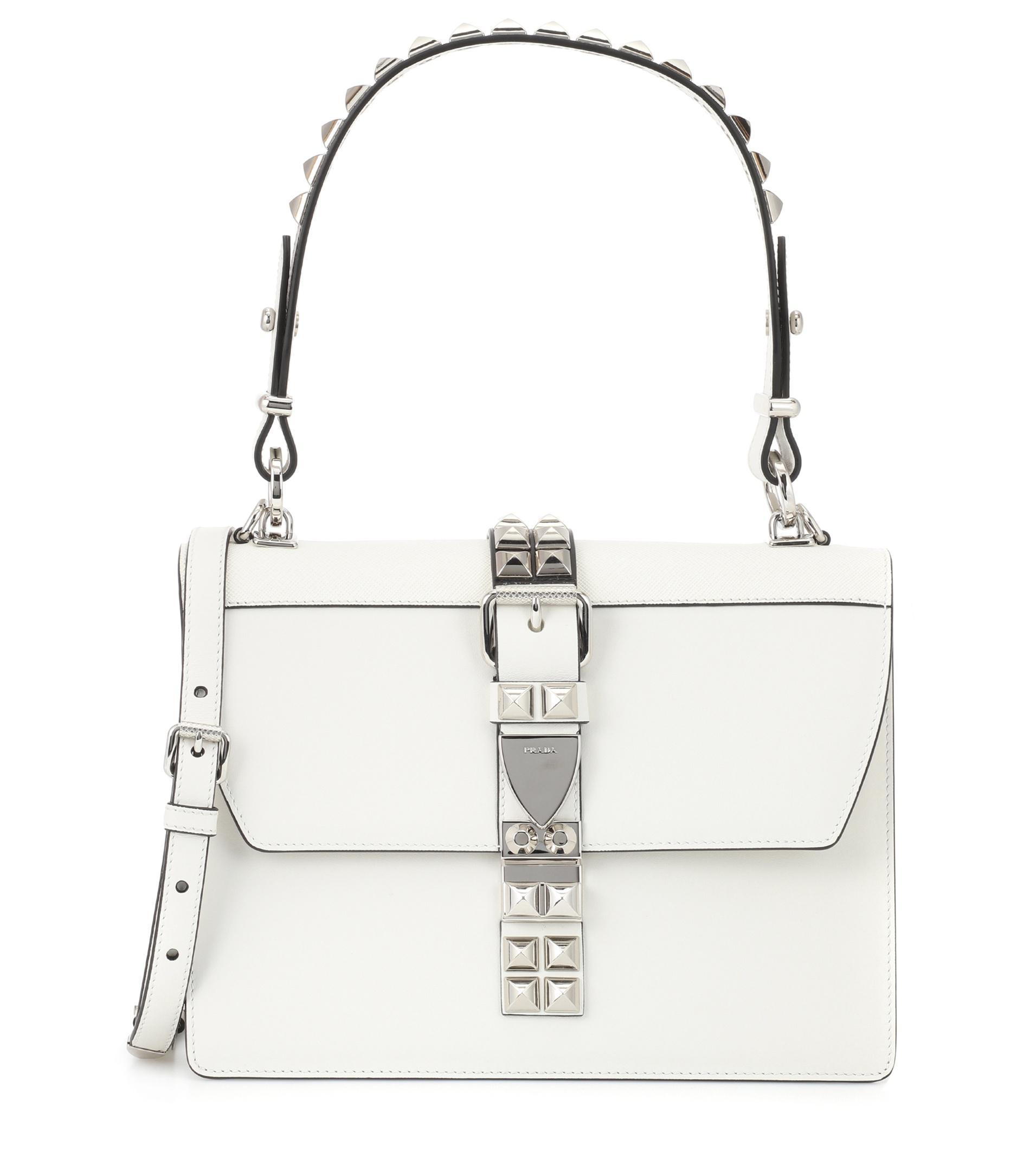 6554b764fe88 Prada Elektra Leather Shoulder Bag in White - Lyst