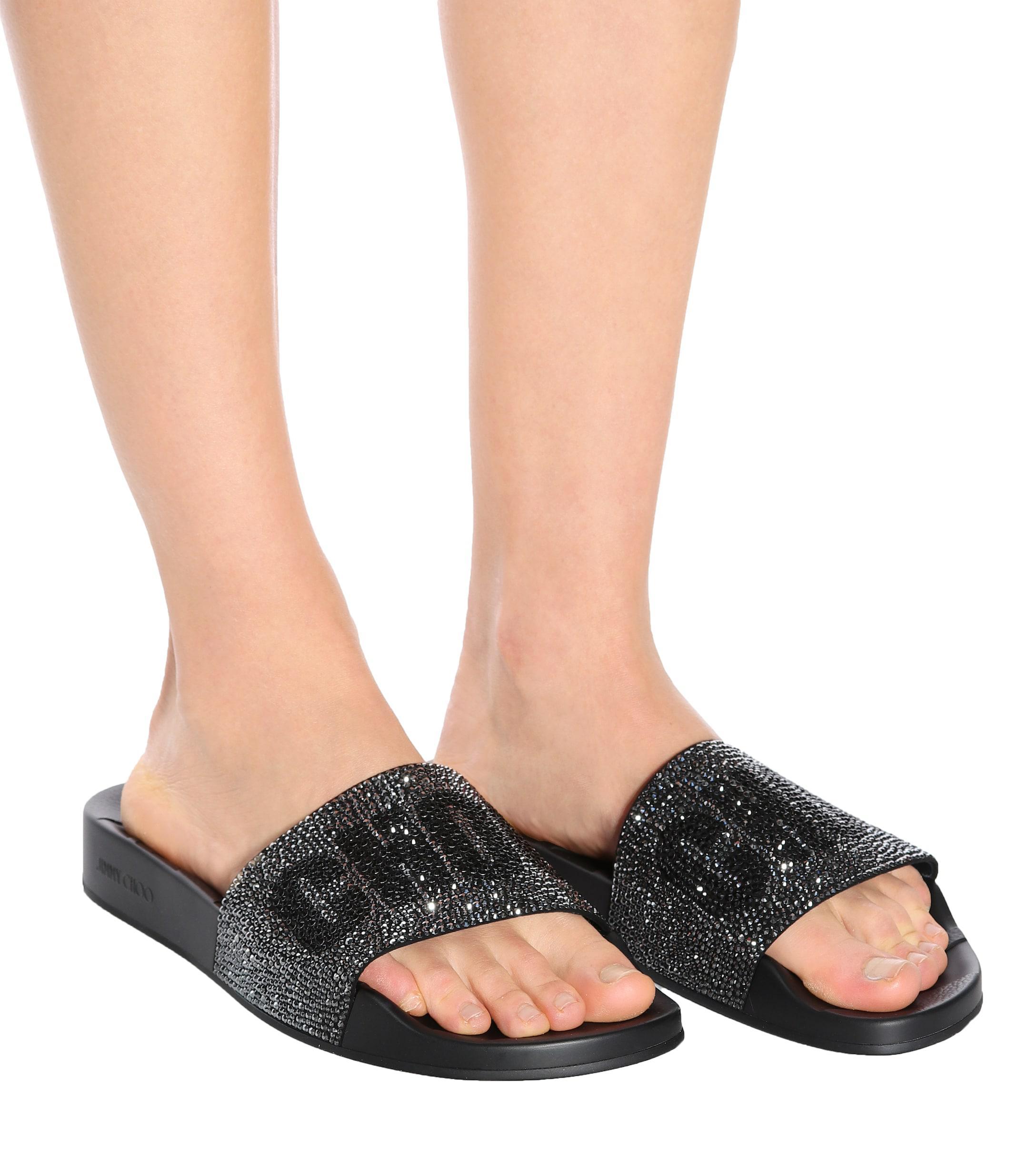 f7d769f5548 Jimmy Choo Rey Crystal-embellished Slides in Black - Lyst