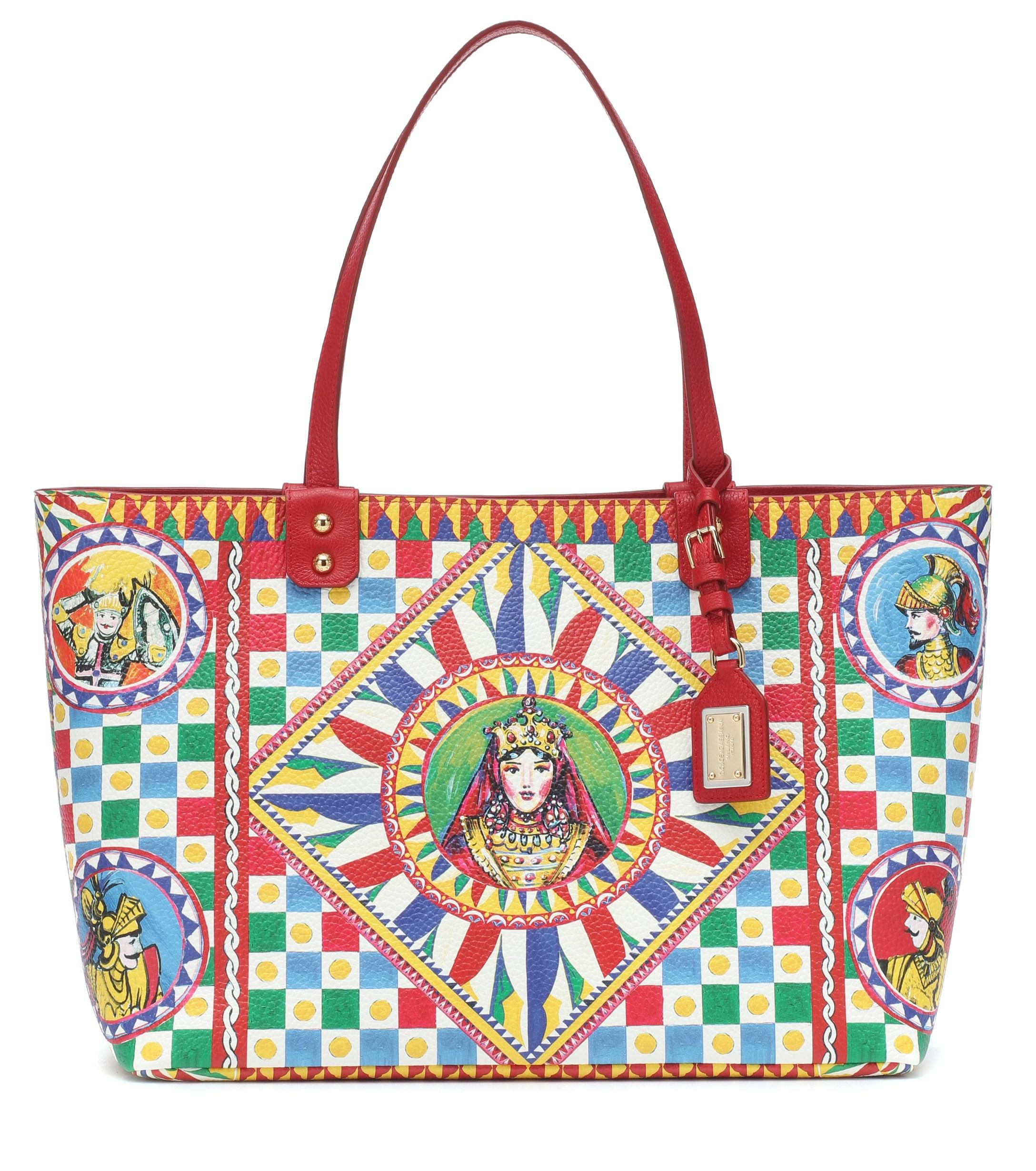 Lyst - Dolce   Gabbana Beatrice Printed Leather Tote in Red 9e669b9a49
