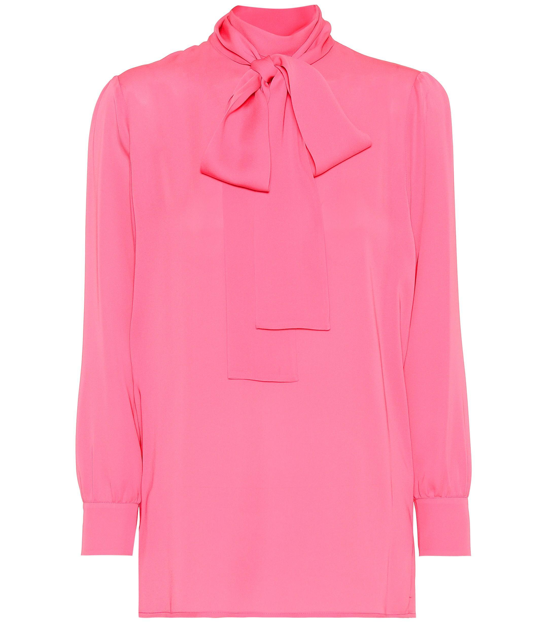 b34482ce5 Lyst - Gucci Silk Georgette Blouse in Pink