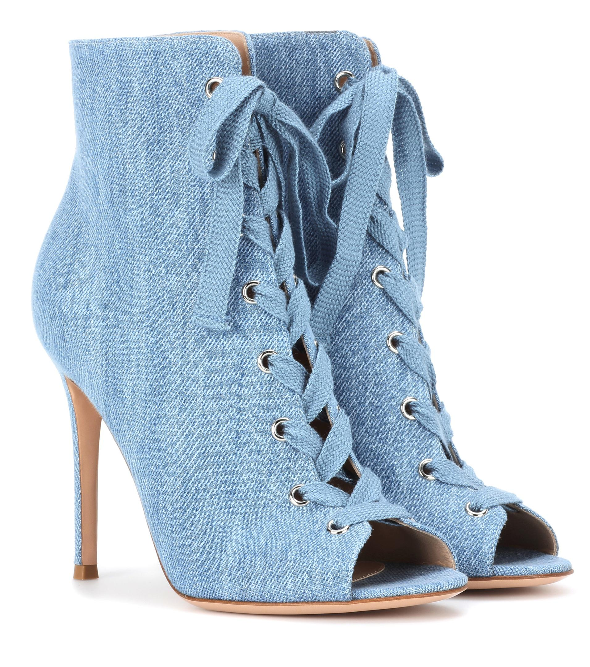 buy cheap nicekicks Gianvito Rossi Peep-Toe Denim Ankle Boots clearance store online cheap sale best place WgMvHY