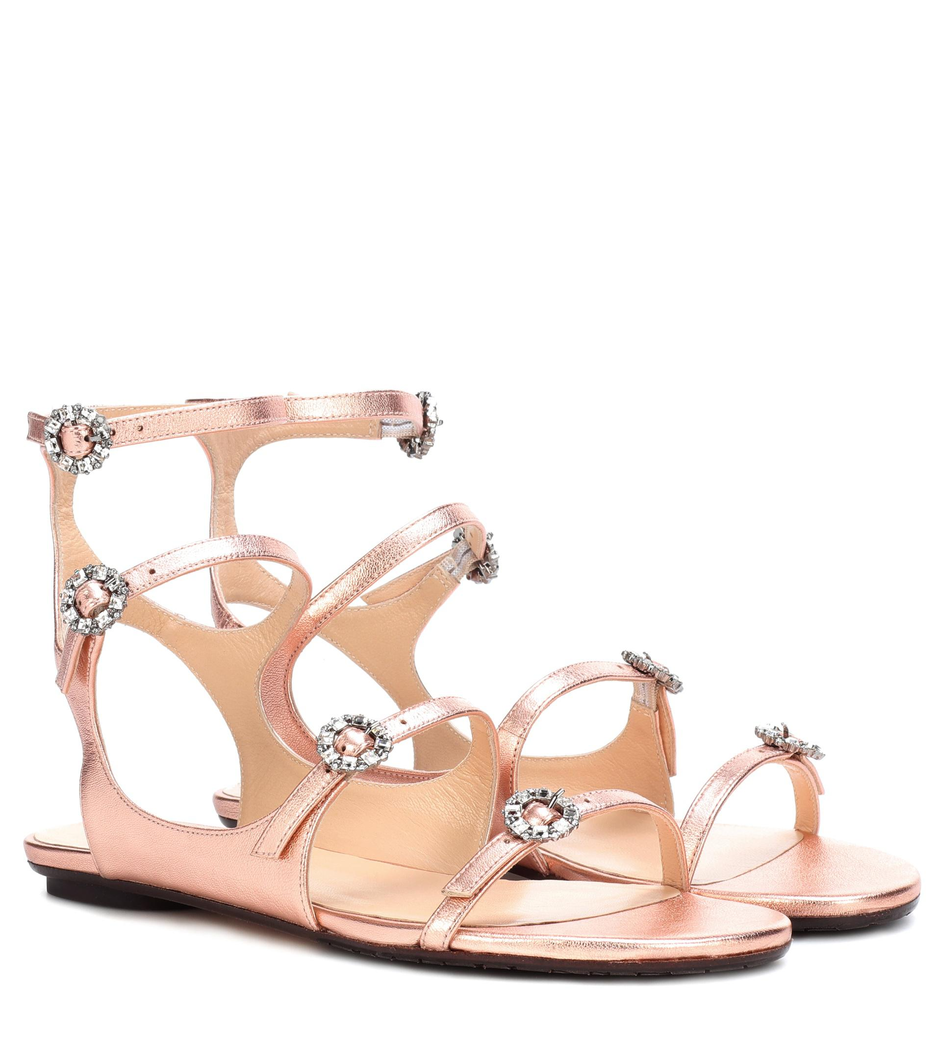 Jimmy choo Women's Naia Embellished Leather Flat Sandals ZbCCsihrm