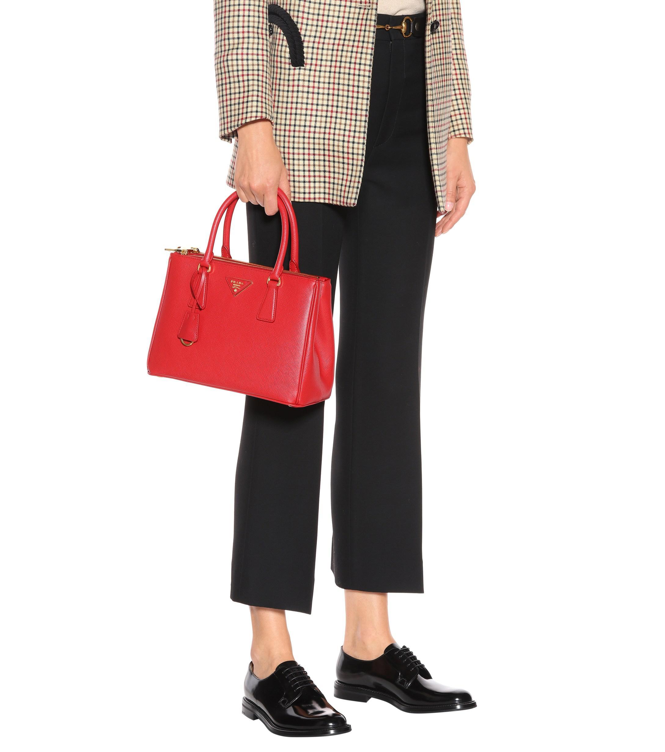 082b62f58dce Lyst - Prada Galleria Saffiano Small Leather Shoulder Bag in Red