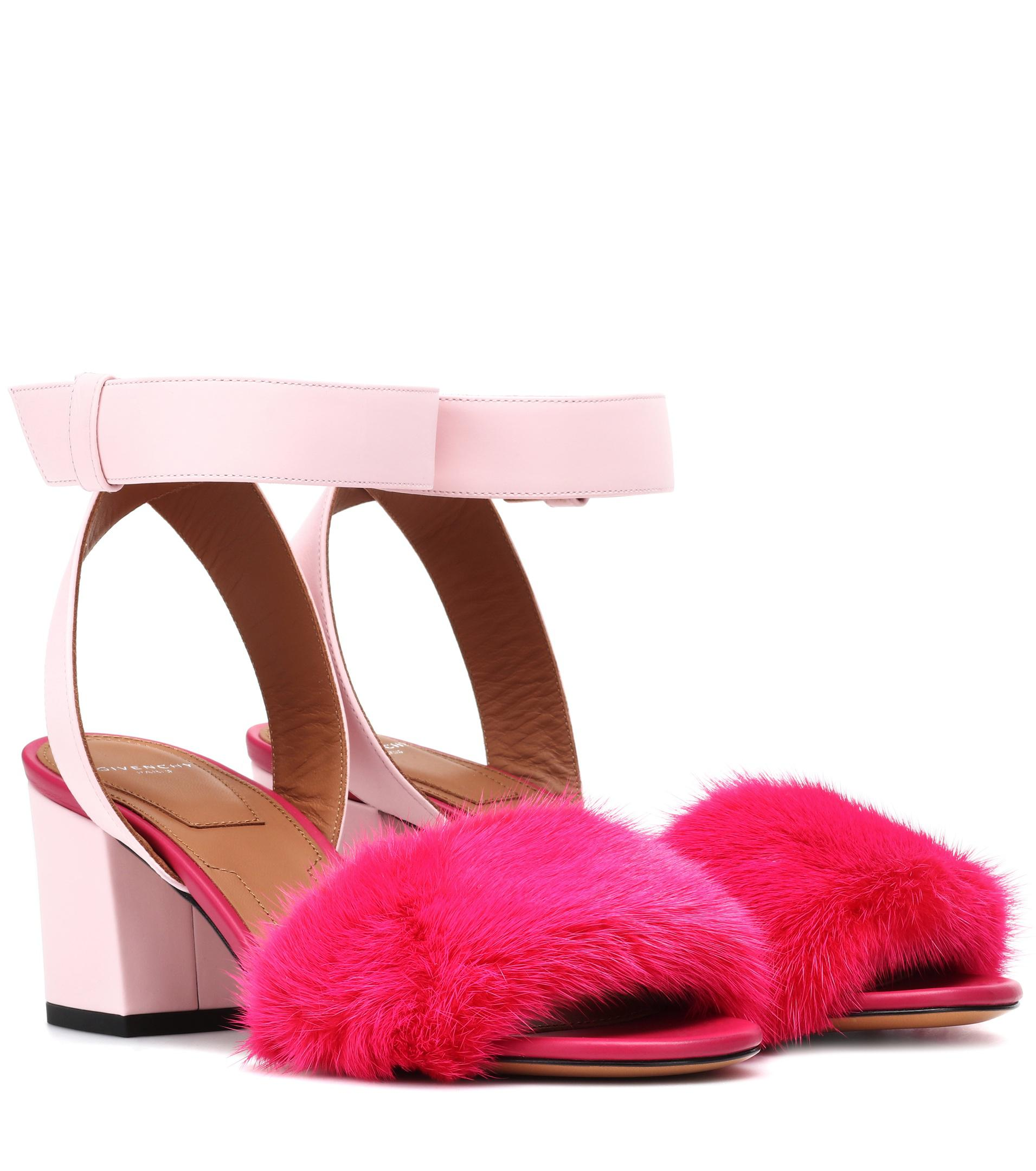 Givenchy Leather and fur-trimmed sandals 3VZf2Gbb4k