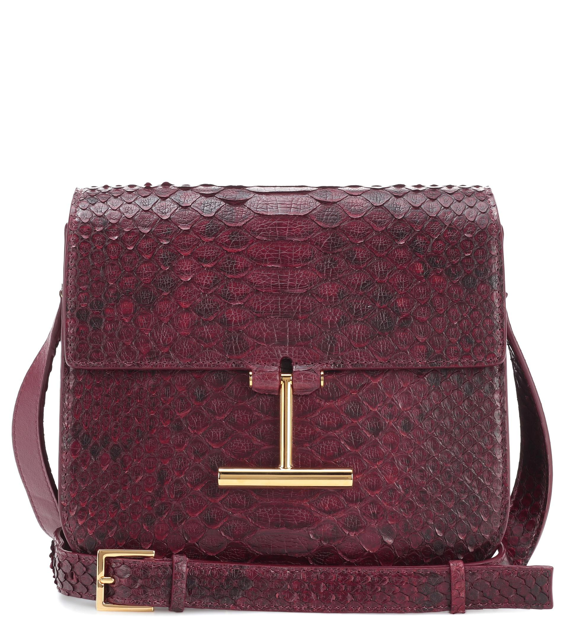 04b8778003a6 Tom Ford Snakeskin Shoulder Bag in Red - Lyst