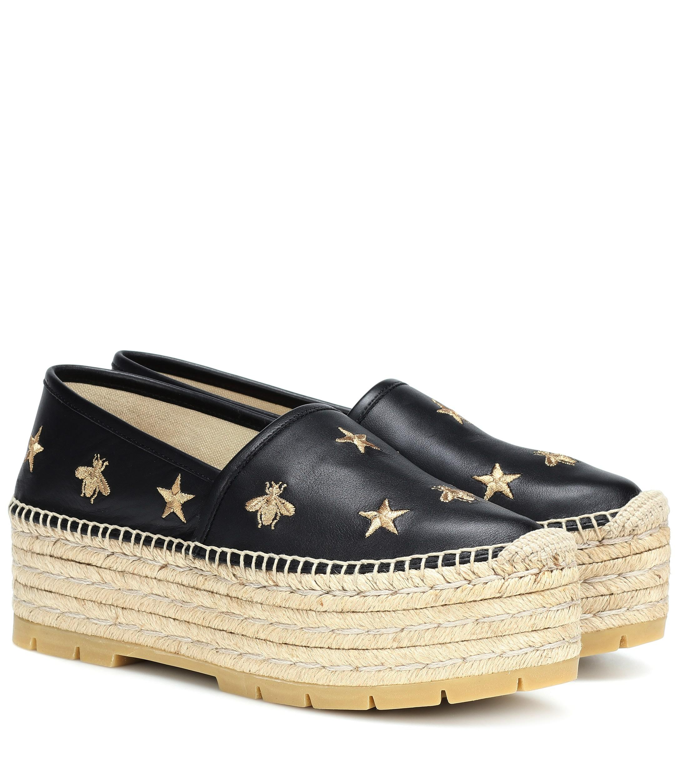 37bf336705c Lyst - Gucci Bee And Star Embroidered Espadrilles in Black