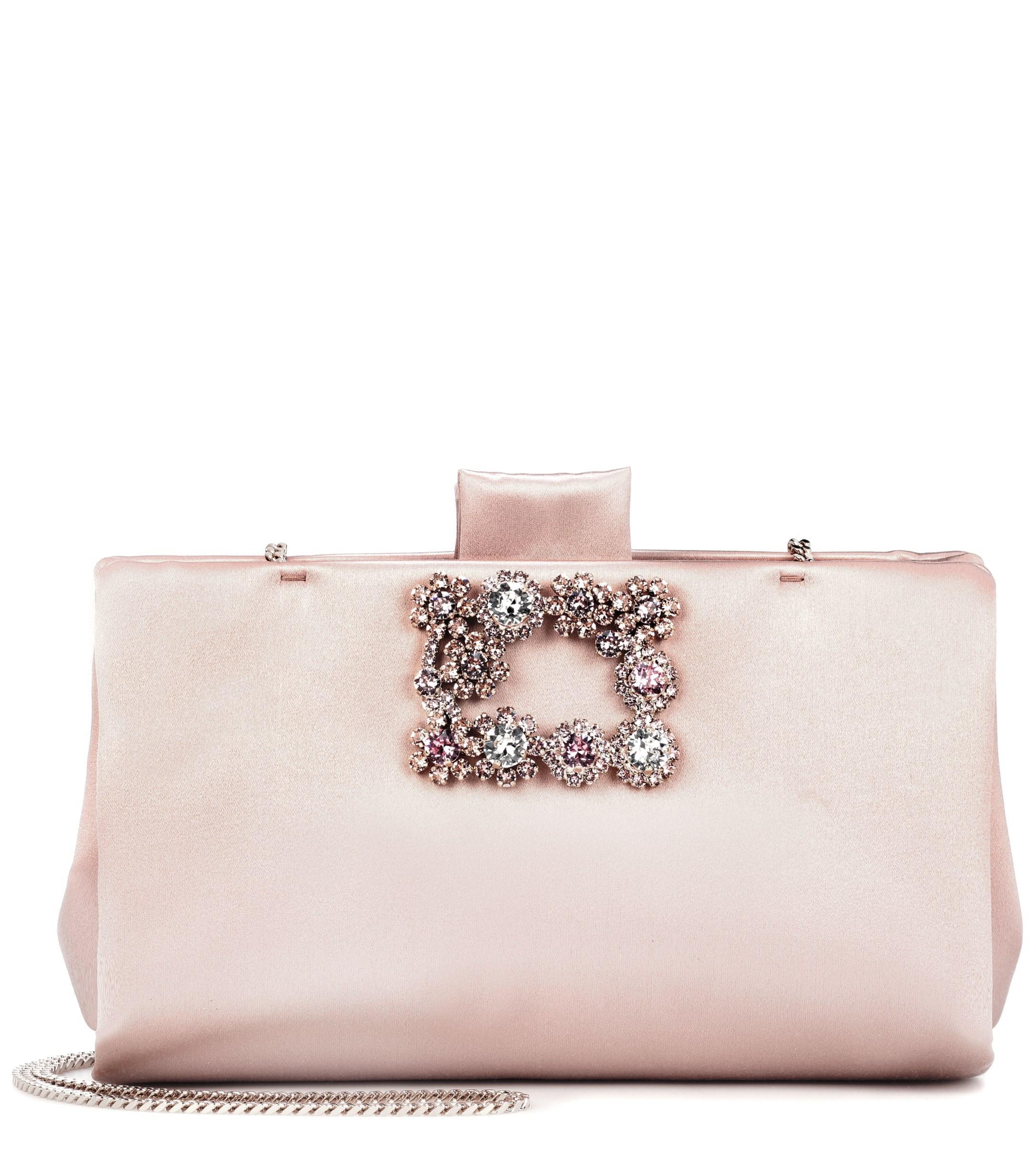 699c21b90529 Lyst - Roger Vivier Soft Flowers Satin Clutch in Pink