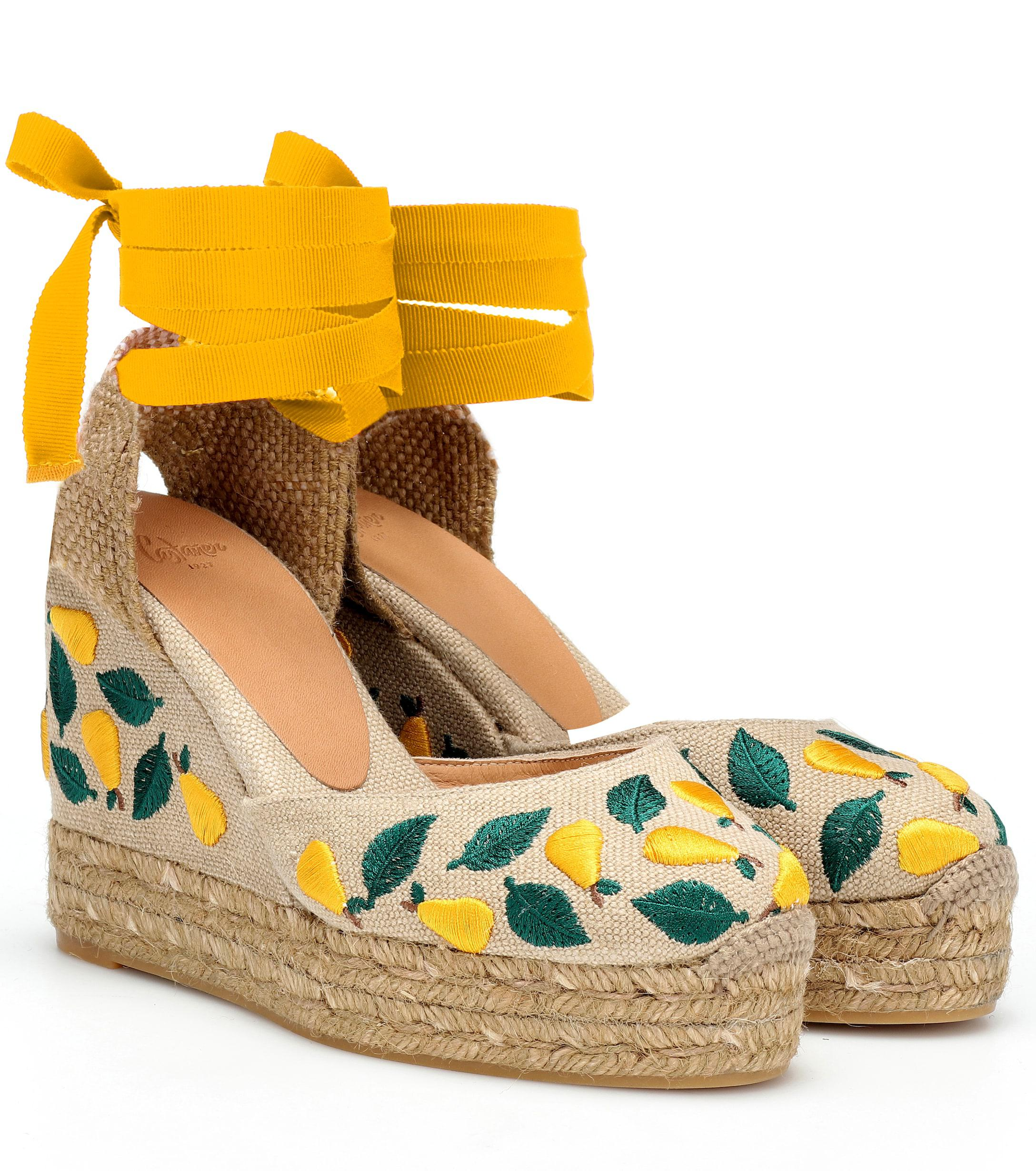 1755076230e2e8 Lyst - Castaner Carina Embroidered Wedge Espadrilles in Yellow ...