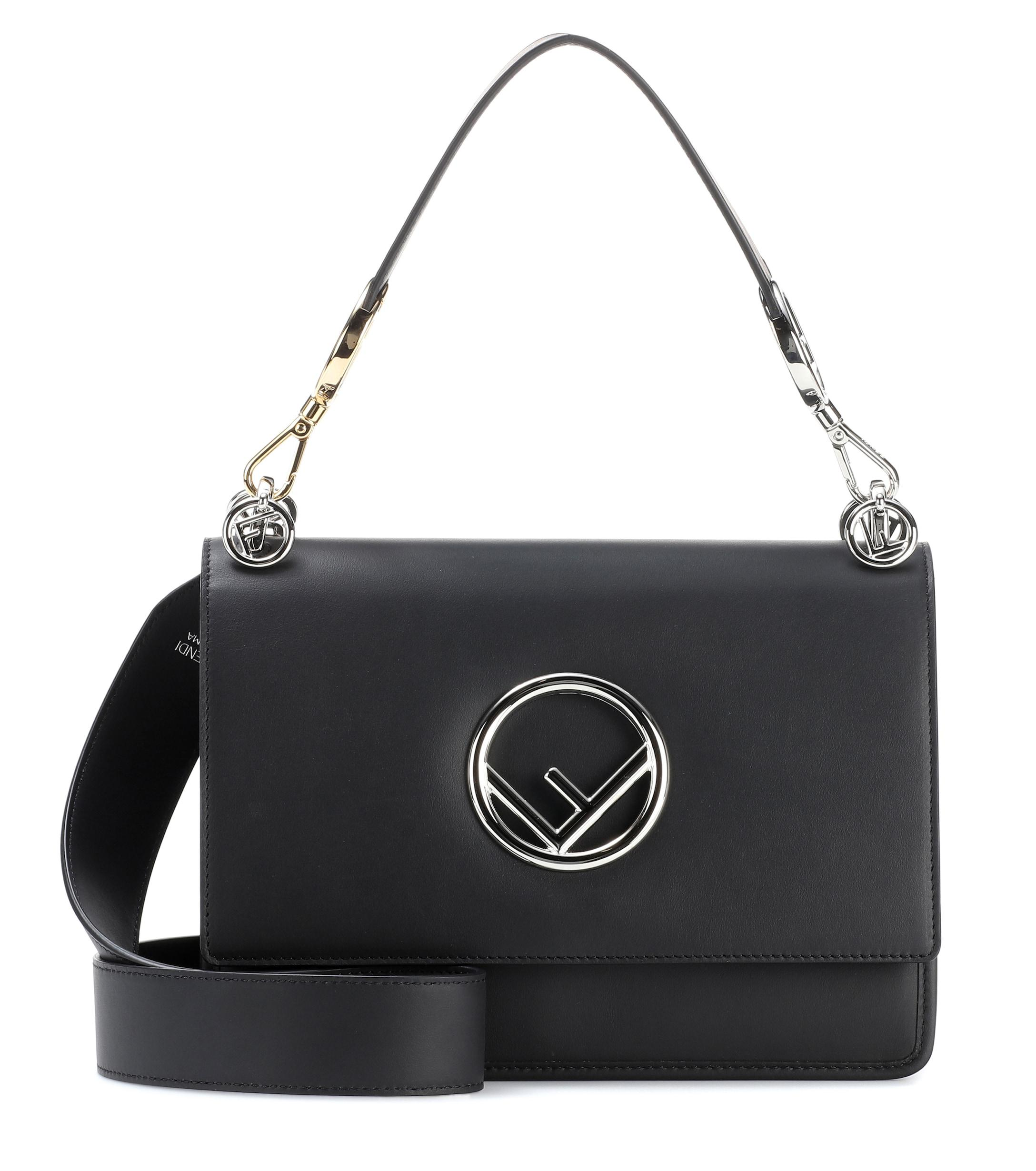 dc8d57fbb5c Fendi Kan I F Leather Shoulder Bag in Black - Lyst