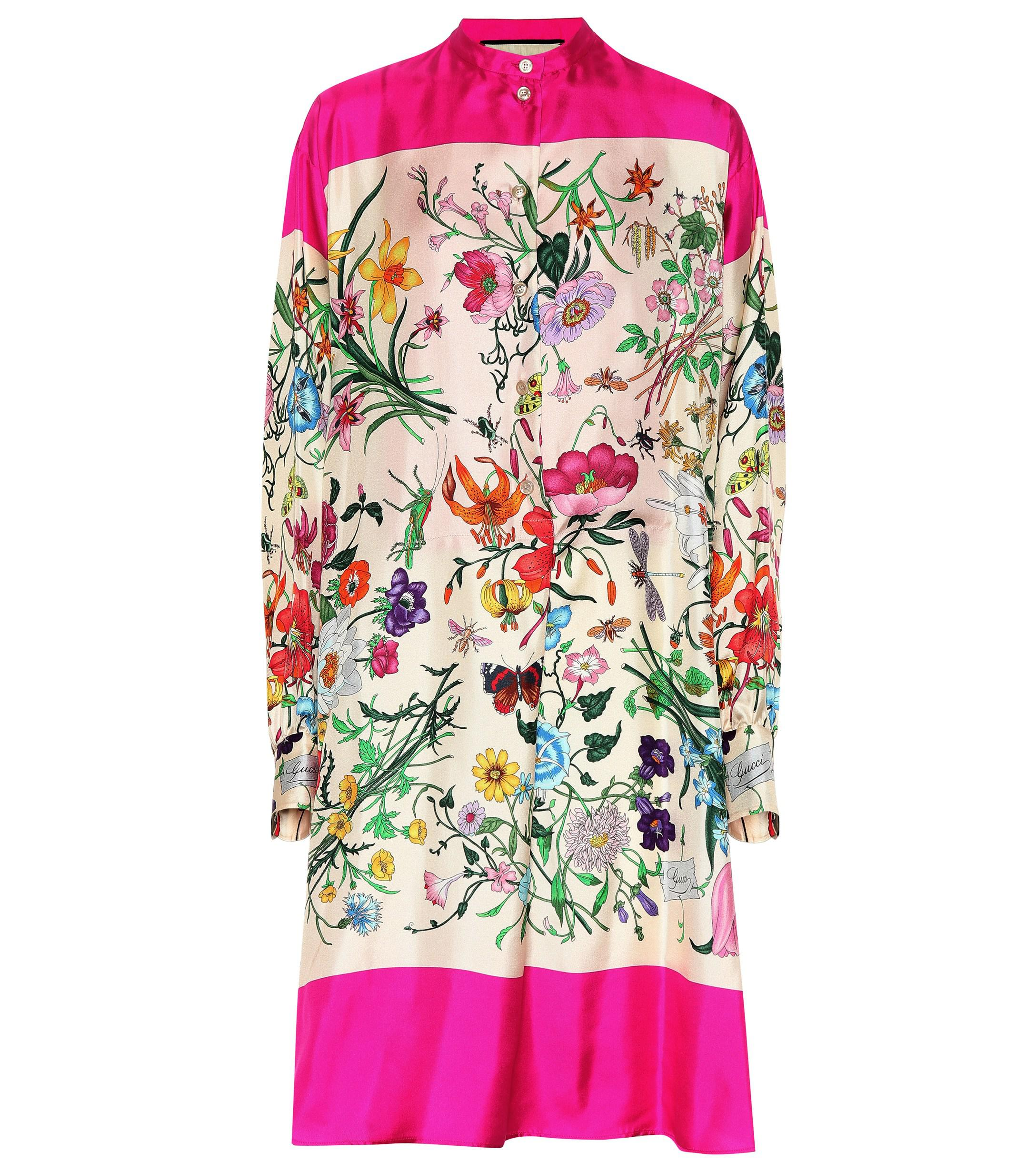 9e2b8b51ab9a1 Gucci. Women s Floral Silk Twill Shirt Dress