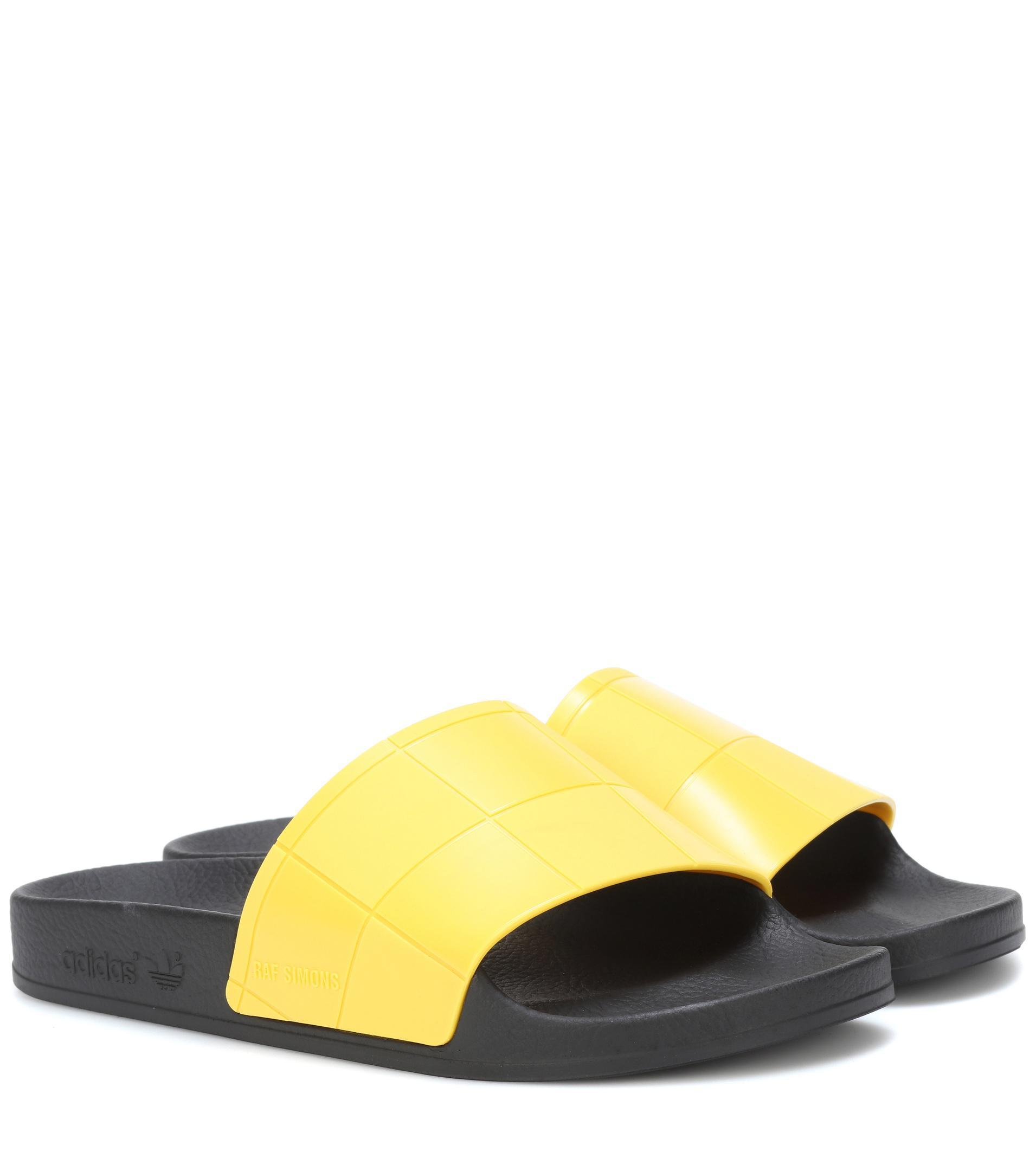 aa28db983a636 Lyst - adidas By Raf Simons Adilette Checkerboard Slides in Yellow