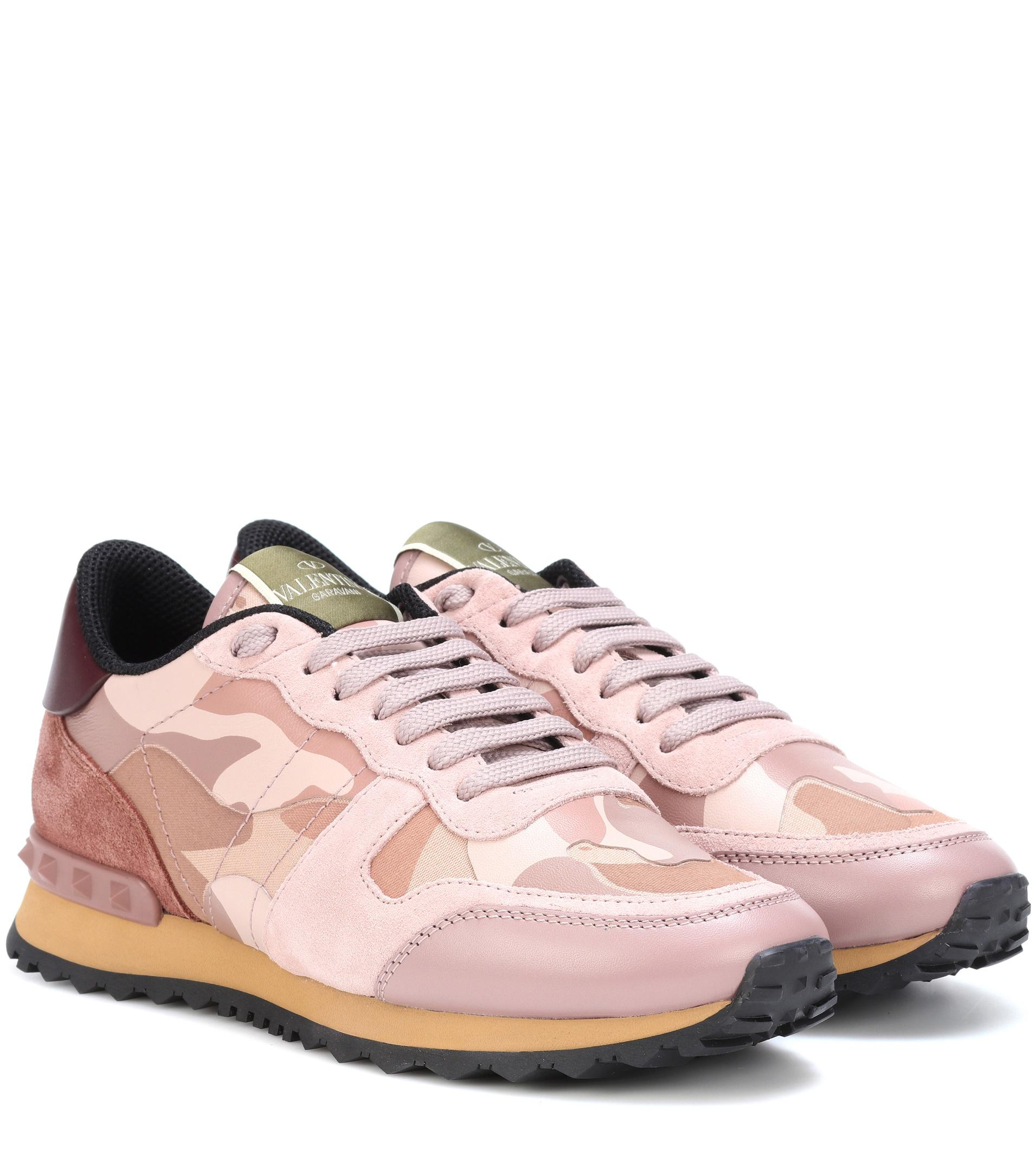 7fe5c752ad33b Valentino Rockrunner Camouflage Sneakers in Pink - Lyst