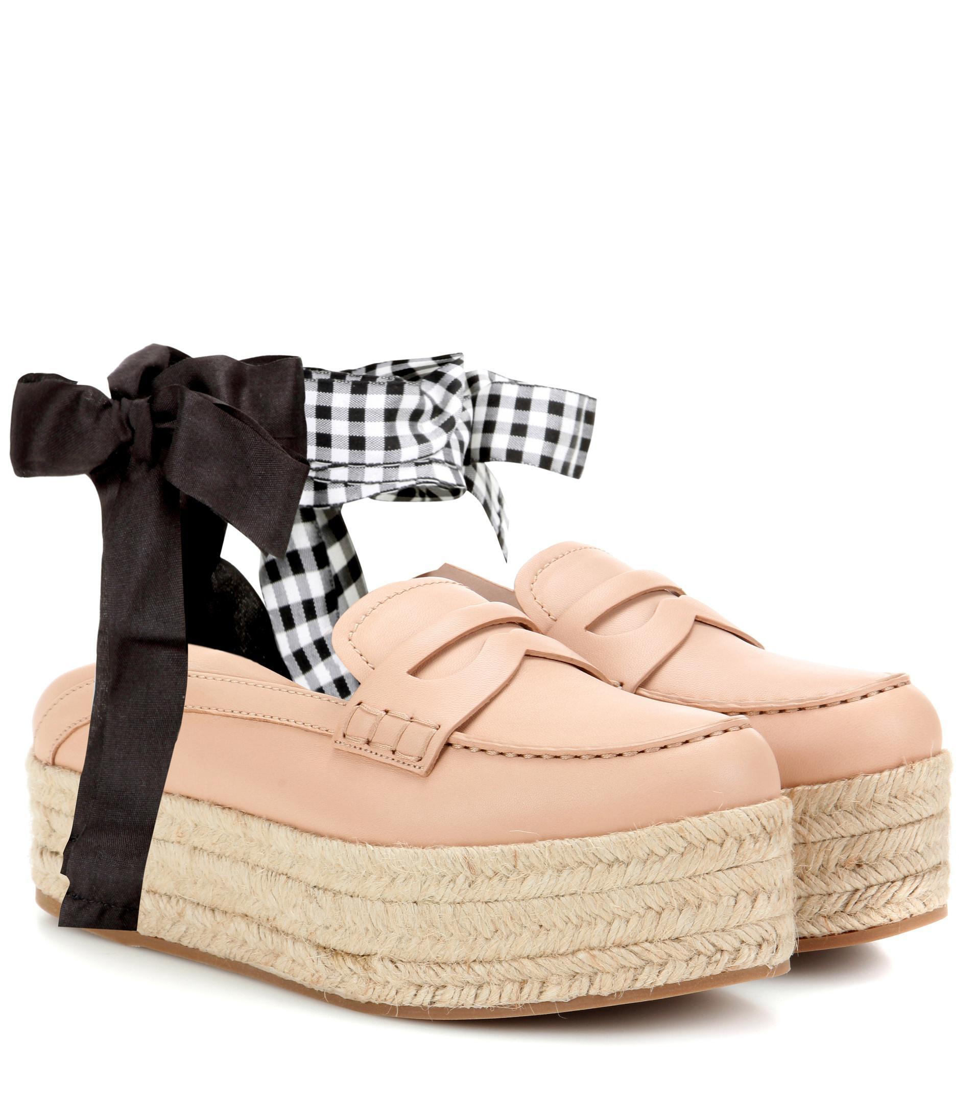 Miu Miu Leather platform loafers k8TDfqtXb