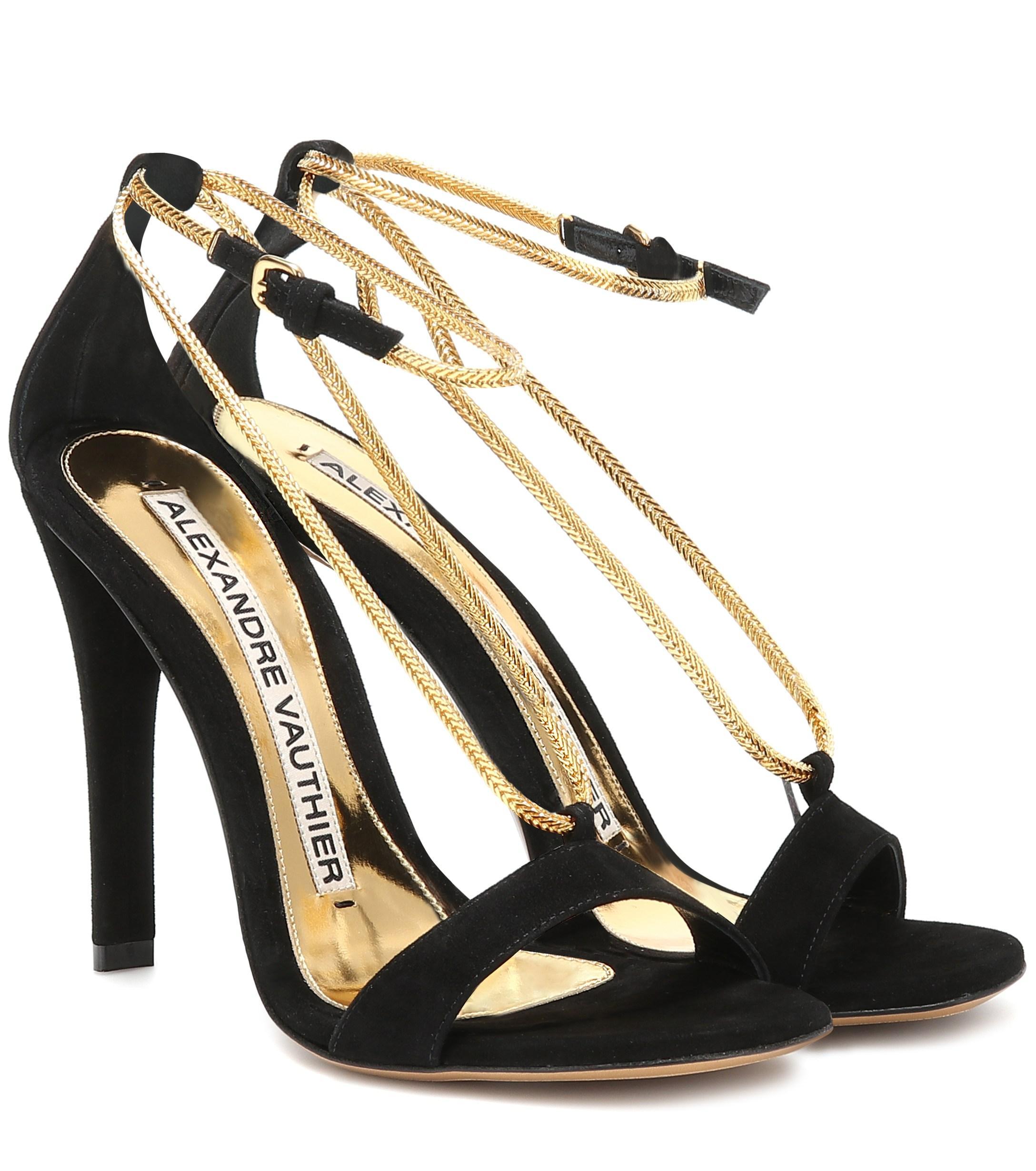 2f46d7e45ec494 Lyst - Alexandre Vauthier Alena Suede Sandals in Black