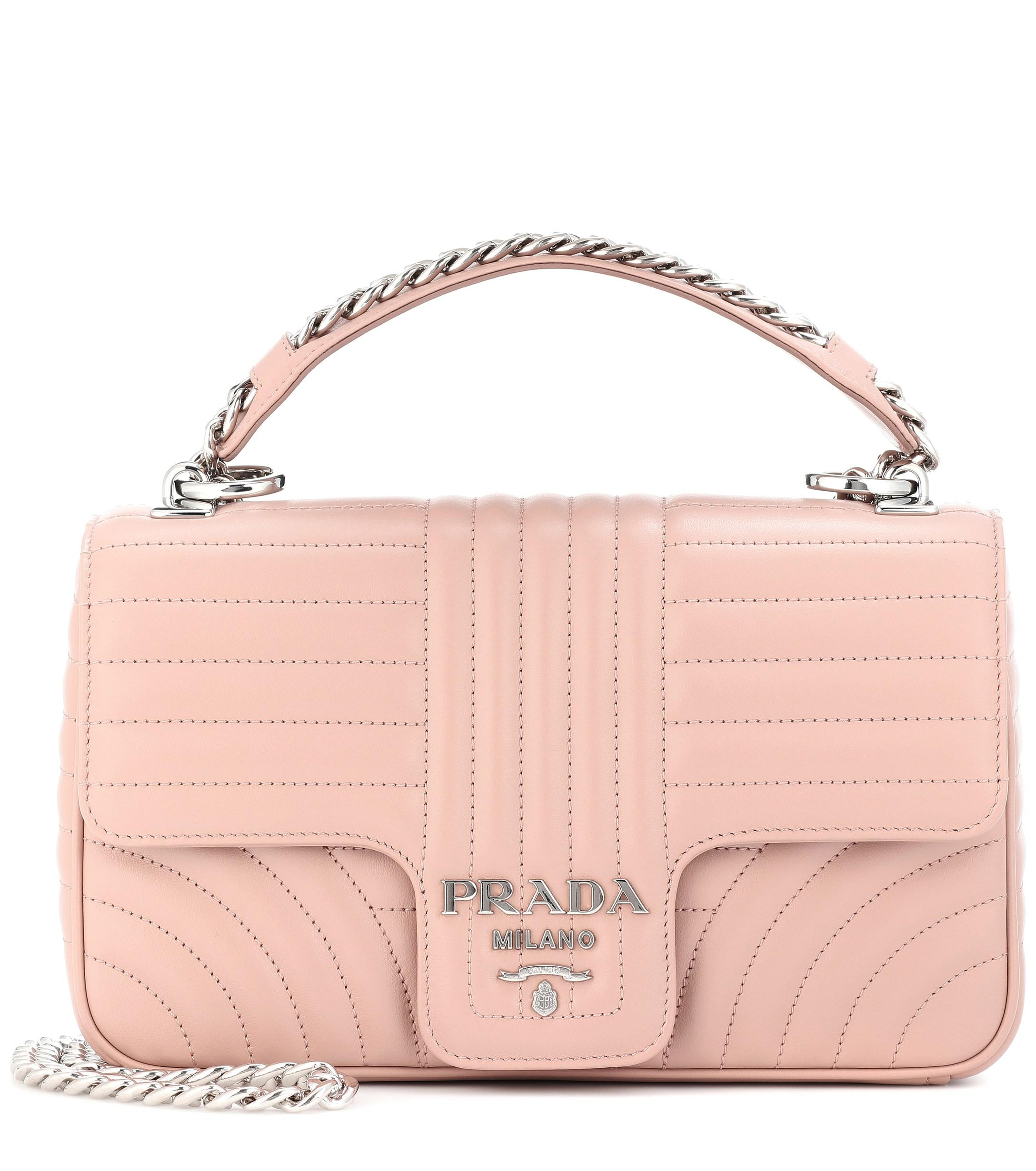 95f93e2730eb Prada Diagramme Medium Leather Shoulder Bag in Pink - Lyst