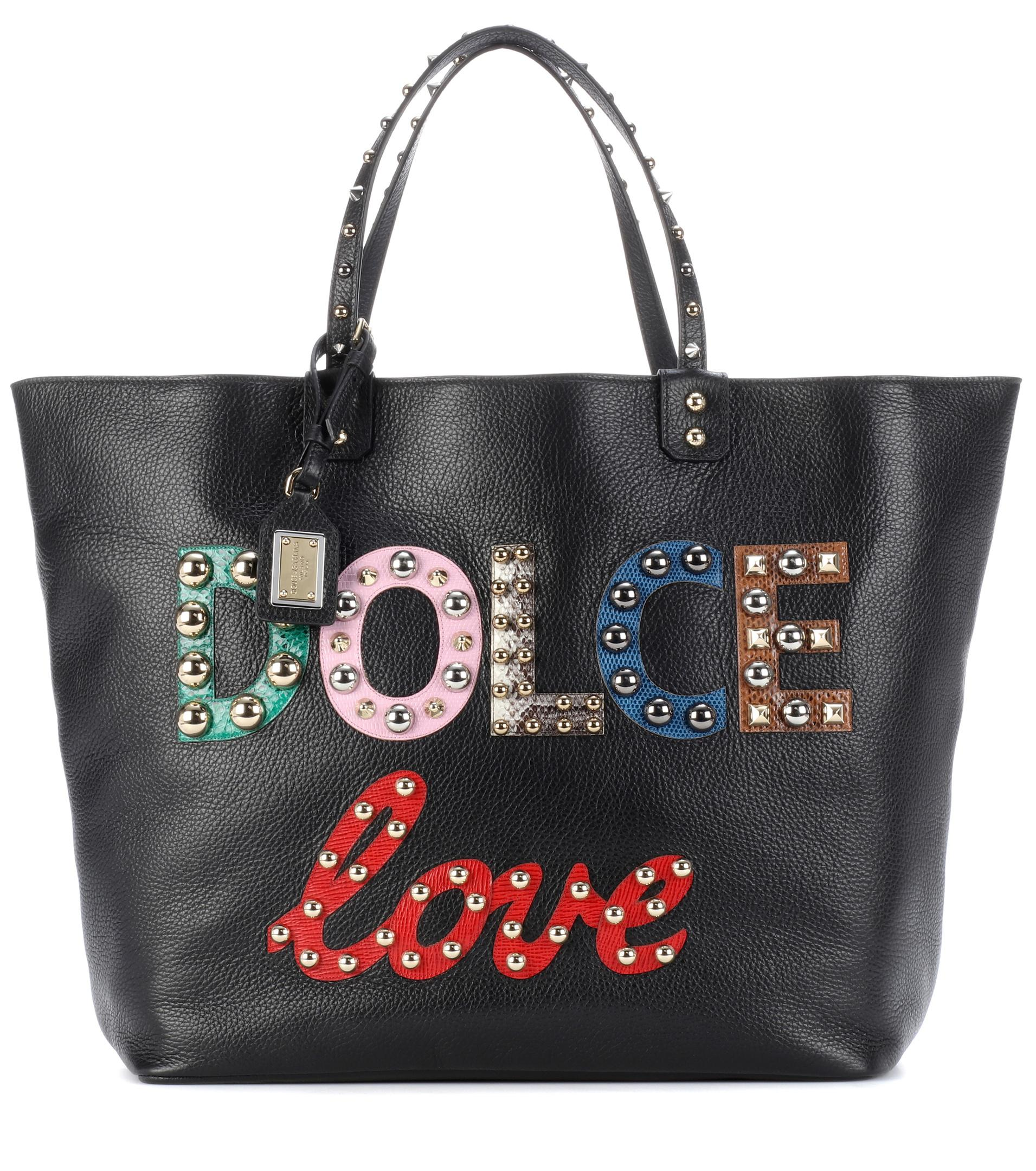 Lyst - Dolce   Gabbana Beatrice Embellished Leather Shopper in Black 51aad96922