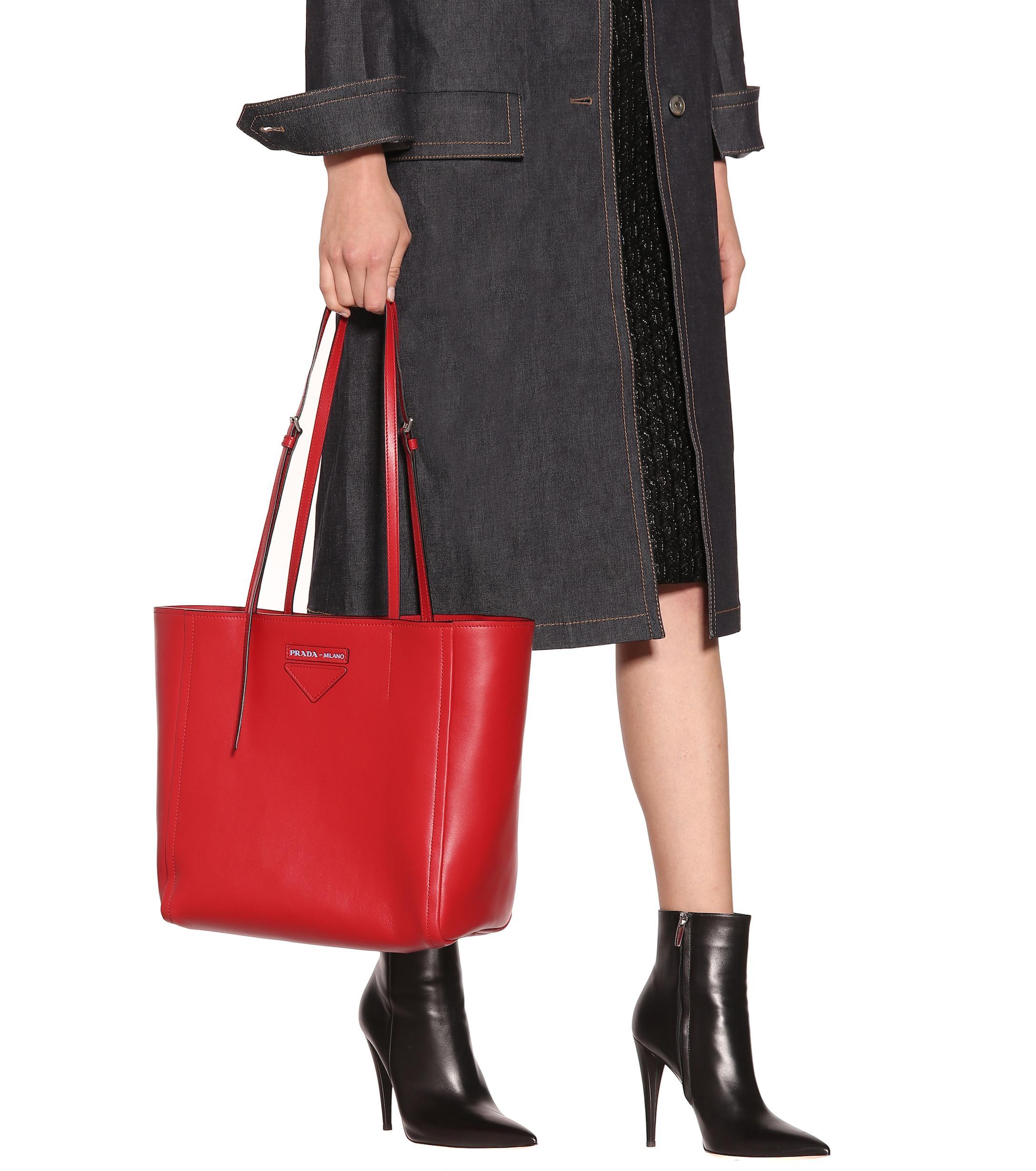 Lyst - Prada Concept Leather Tote in Red e82ff0a9ba1ac