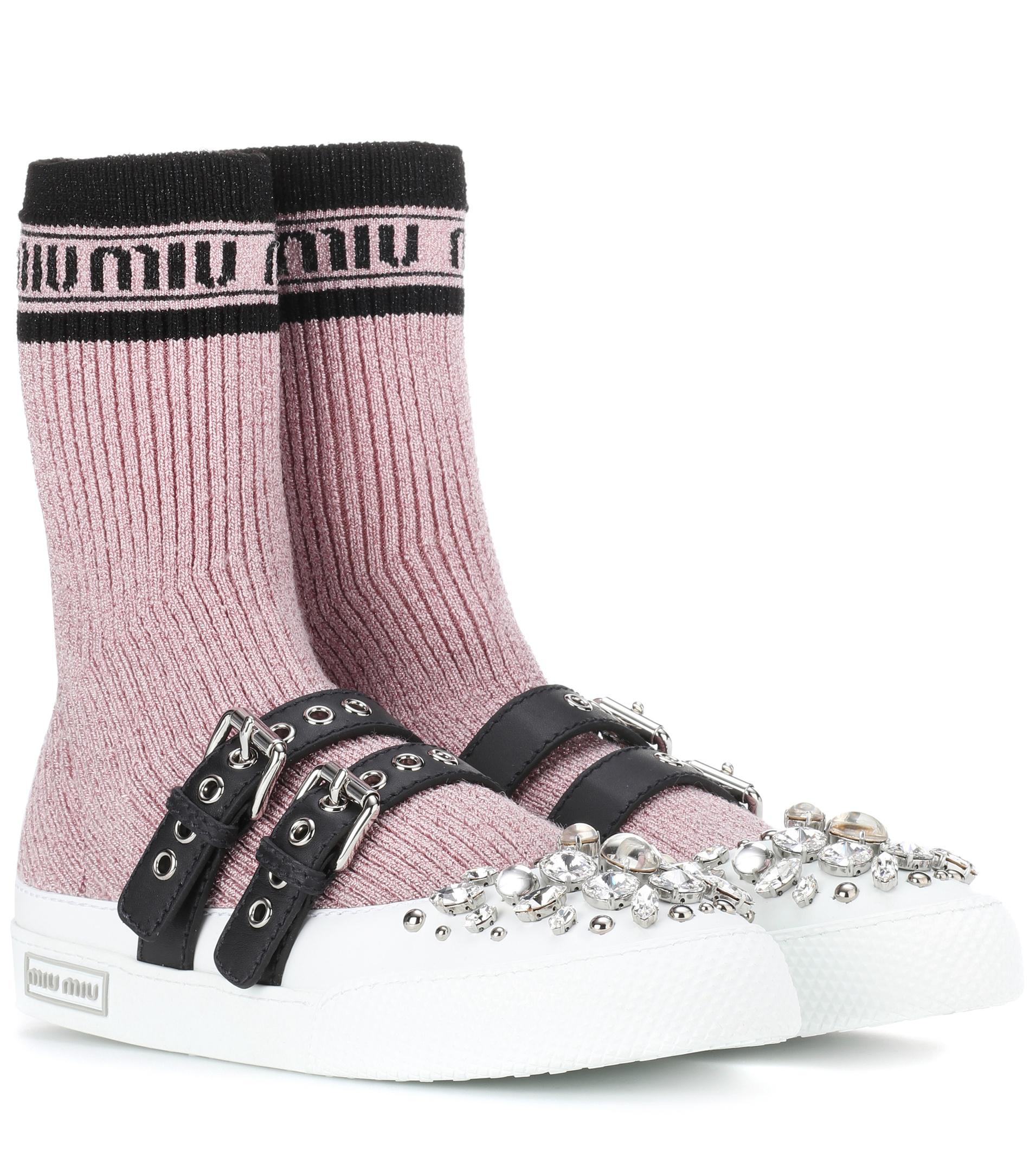 cheap sale hot sale Miu Miu Embellished knit sneakers sneakernews online buy cheap pick a best free shipping websites cheap sale browse iuej4NQf