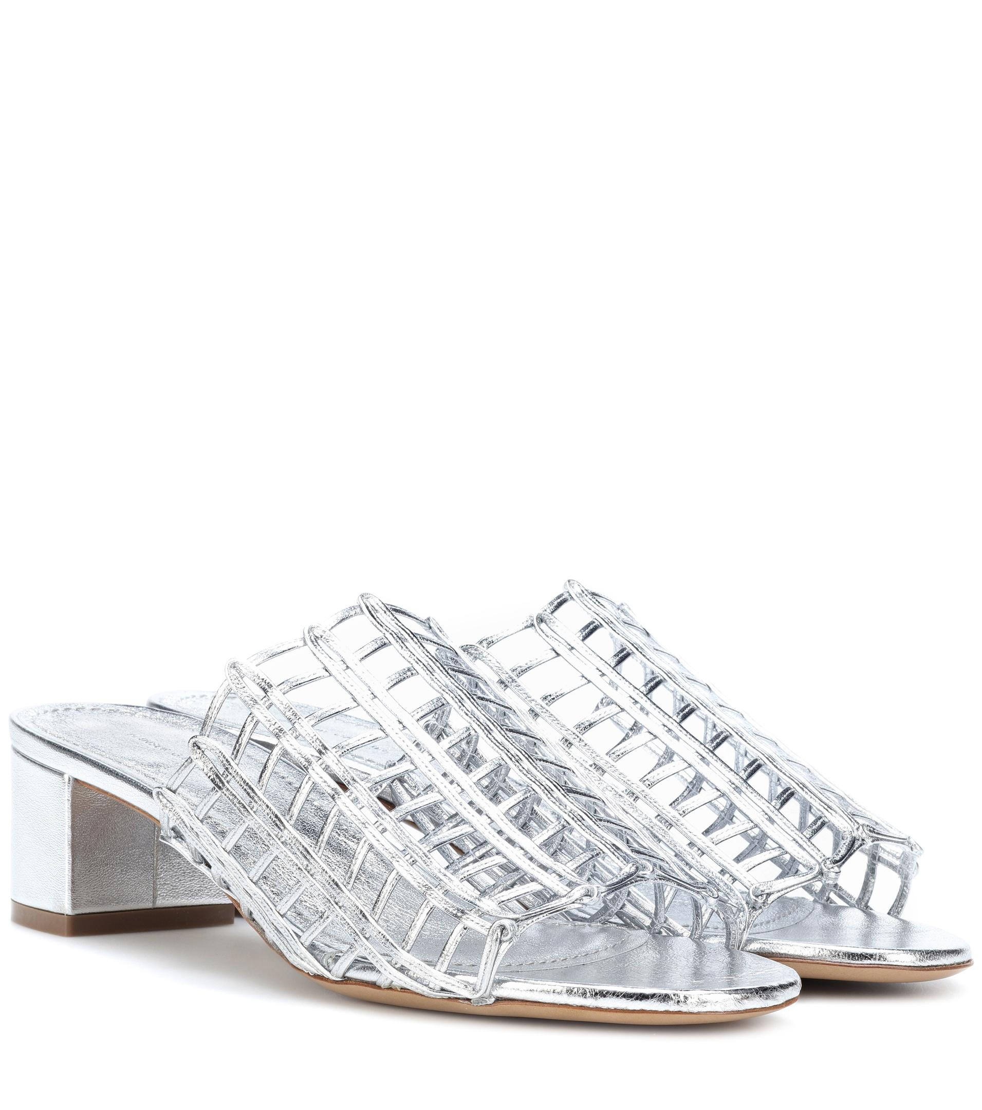 Grid metallic leather sandals Mansur Gavriel 6jjRqB55