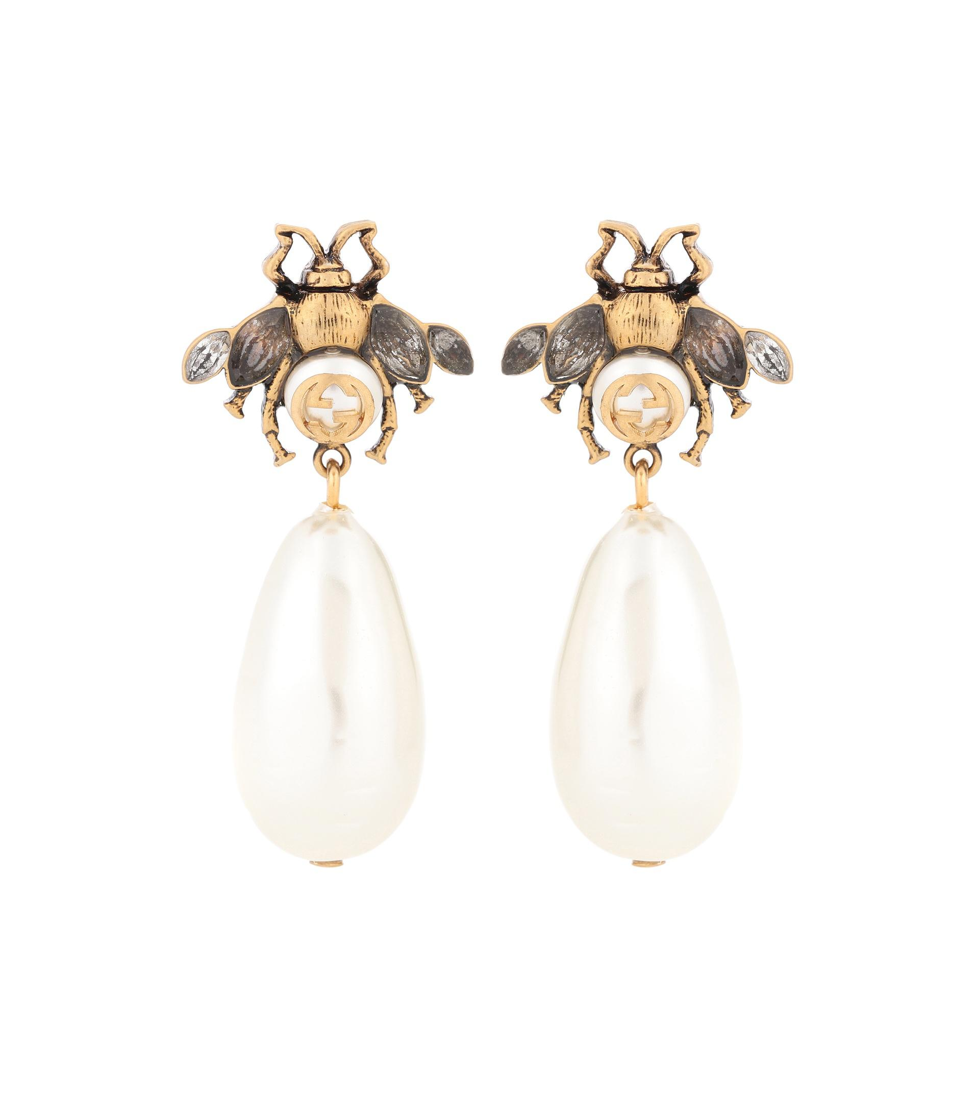 Brass and crystal earrings Gucci XjXFL