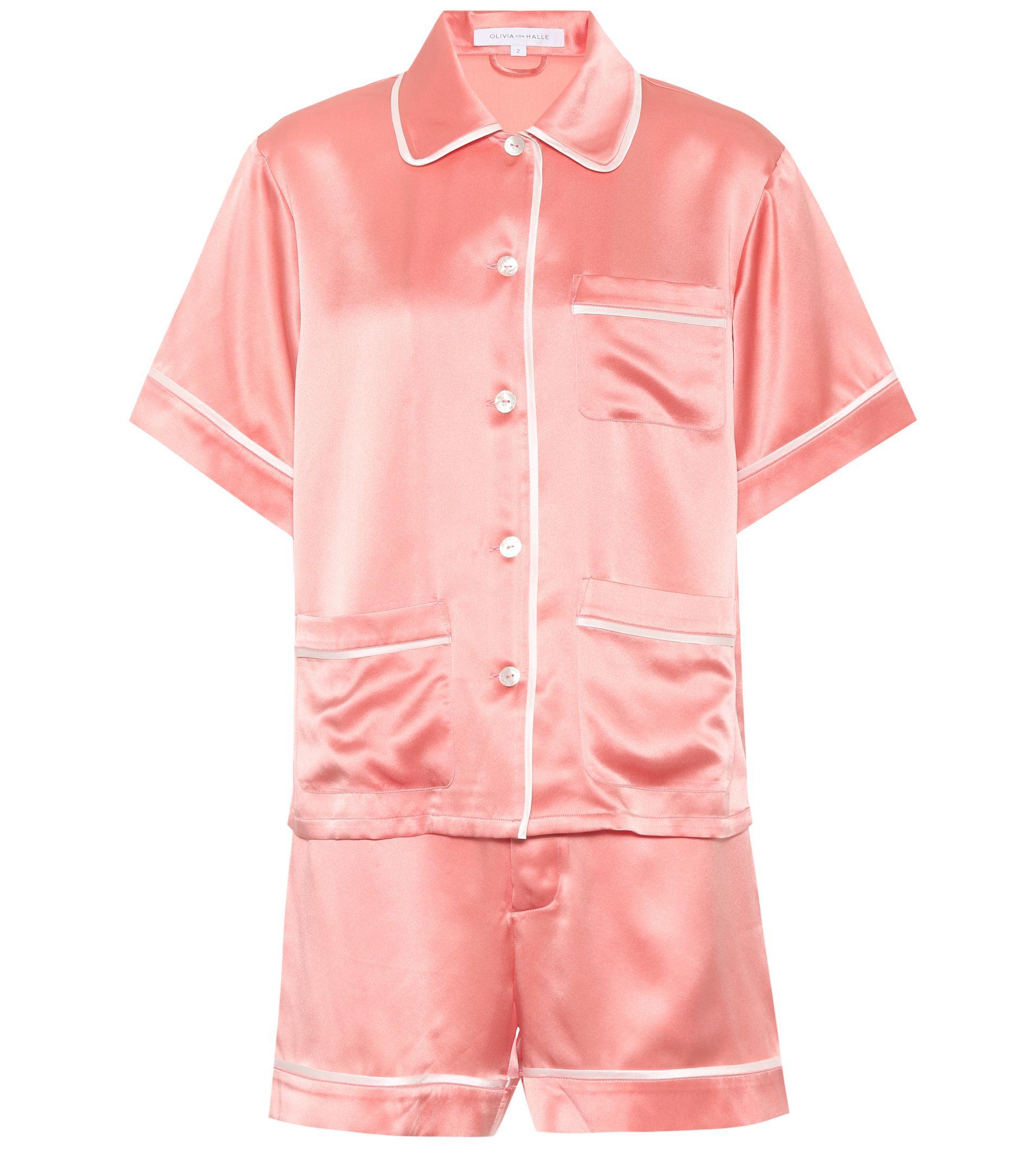 Lyst - Olivia Von Halle Millicent Silk Pyjama Set in Pink a69b1aa18