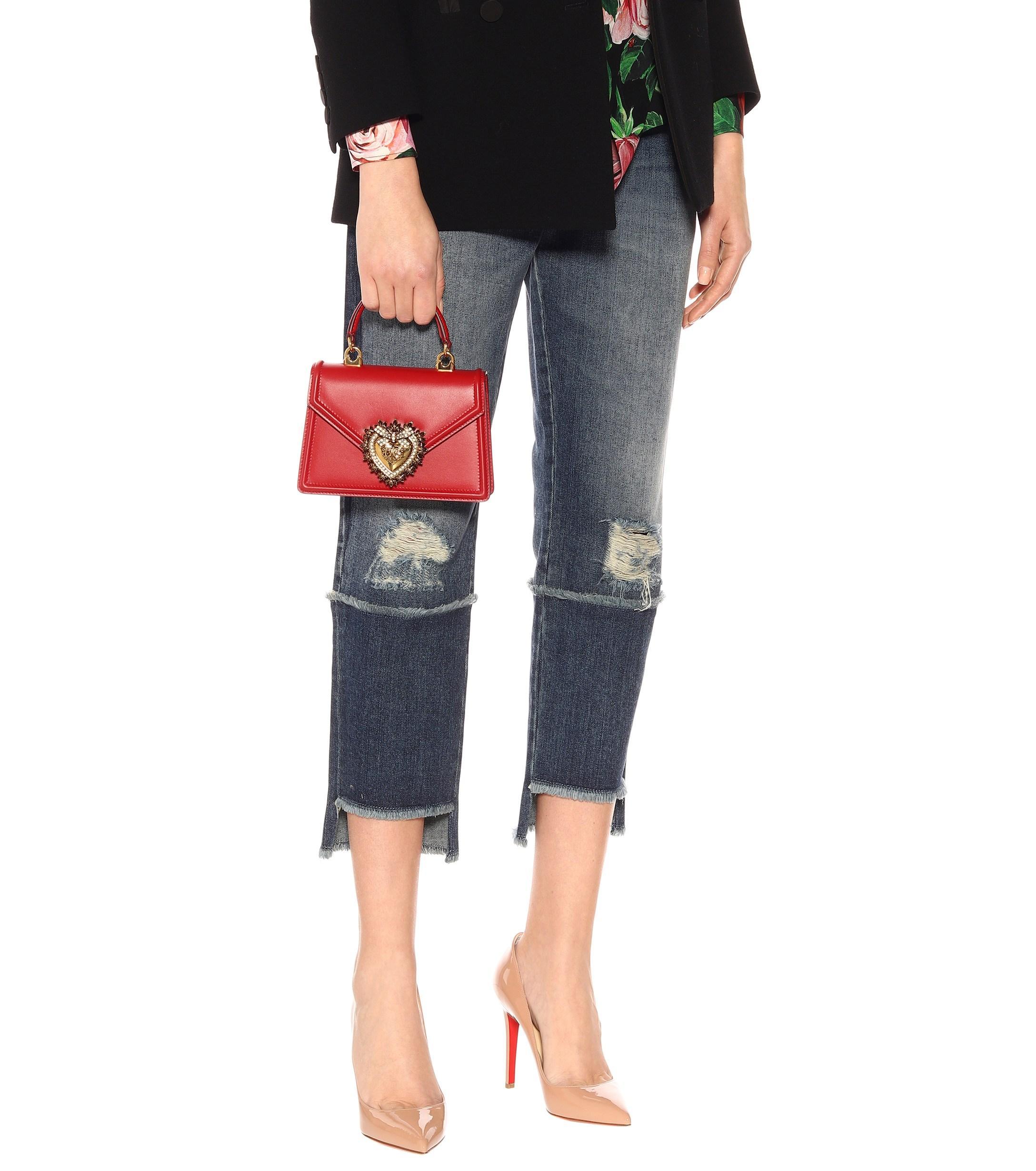 f637da465f3 Dolce & Gabbana Small Devotion Leather Shoulder Bag in Red - Lyst
