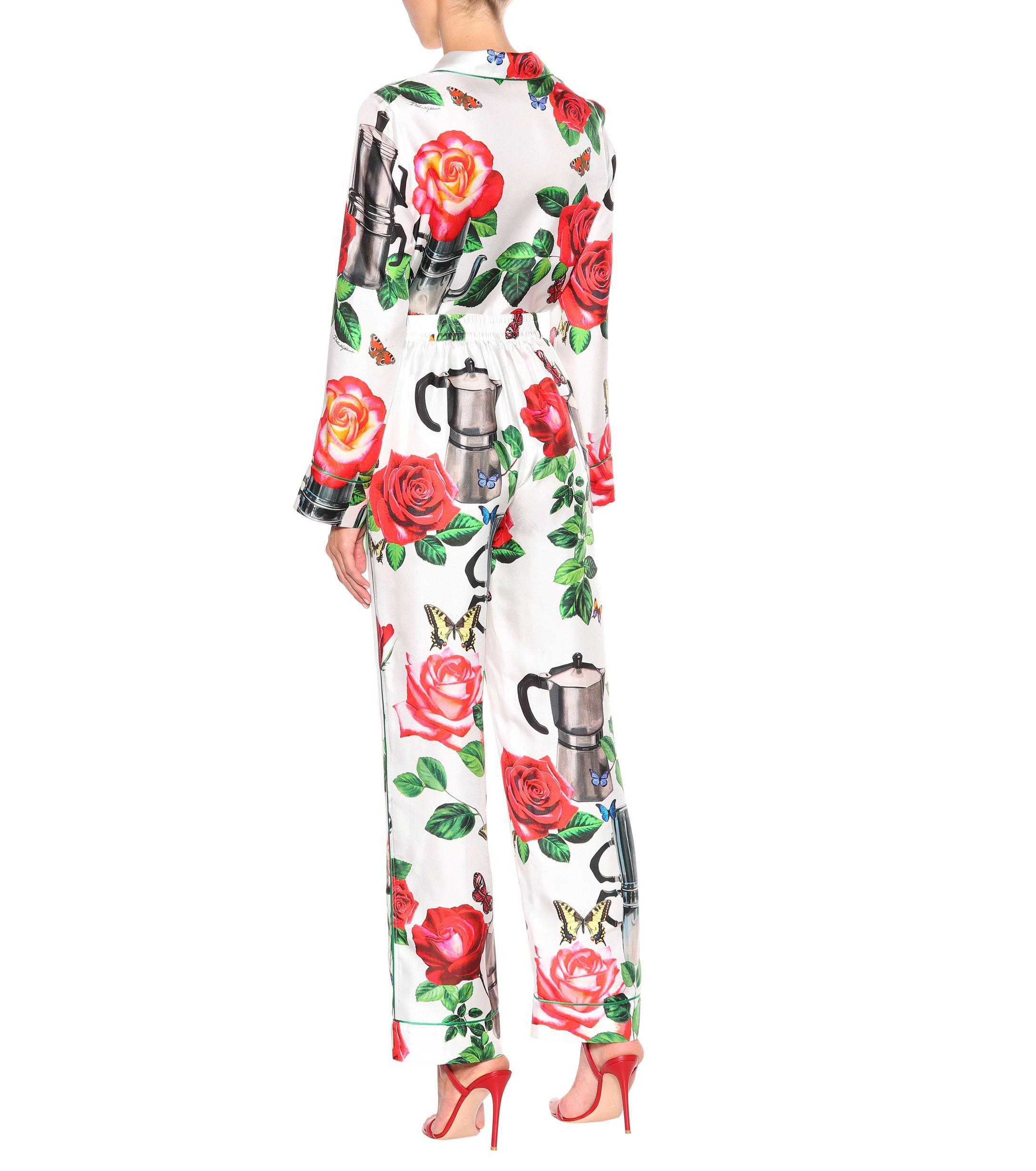 174bf90f09 Dolce   Gabbana Silk Pyjama Bottoms in Green - Lyst