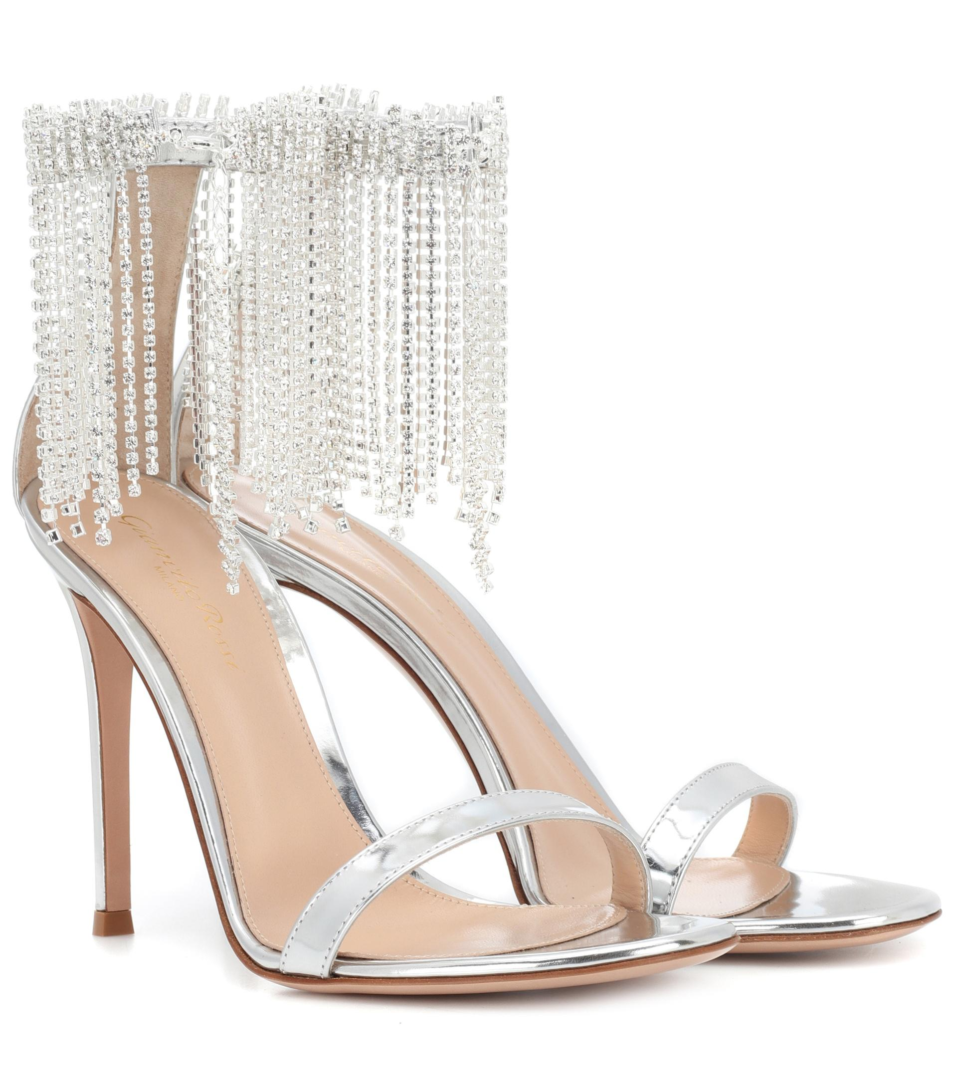 57fc08d7b902 Gianvito Rossi Jasmine 105 Metallic Leather Sandals in Metallic - Lyst