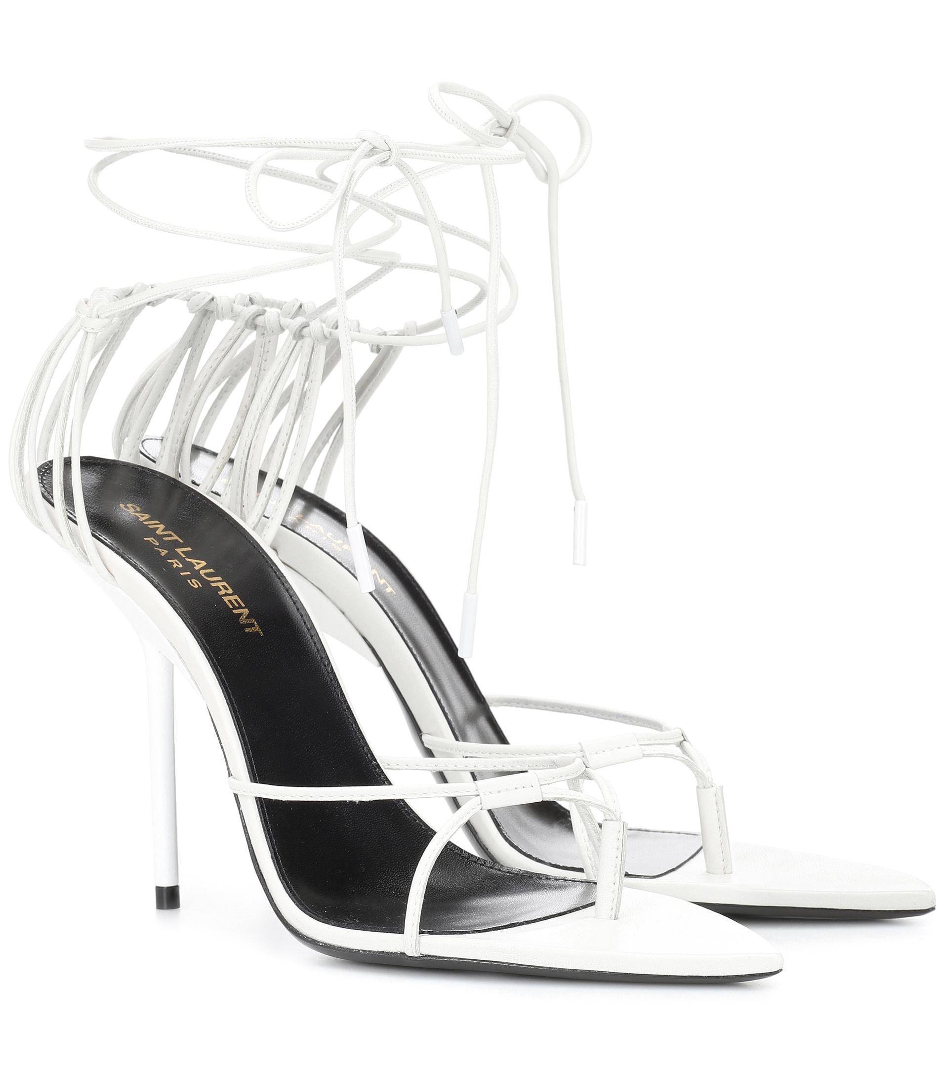 b80d7945f19d Saint Laurent Inez Leather Sandals in White - Lyst