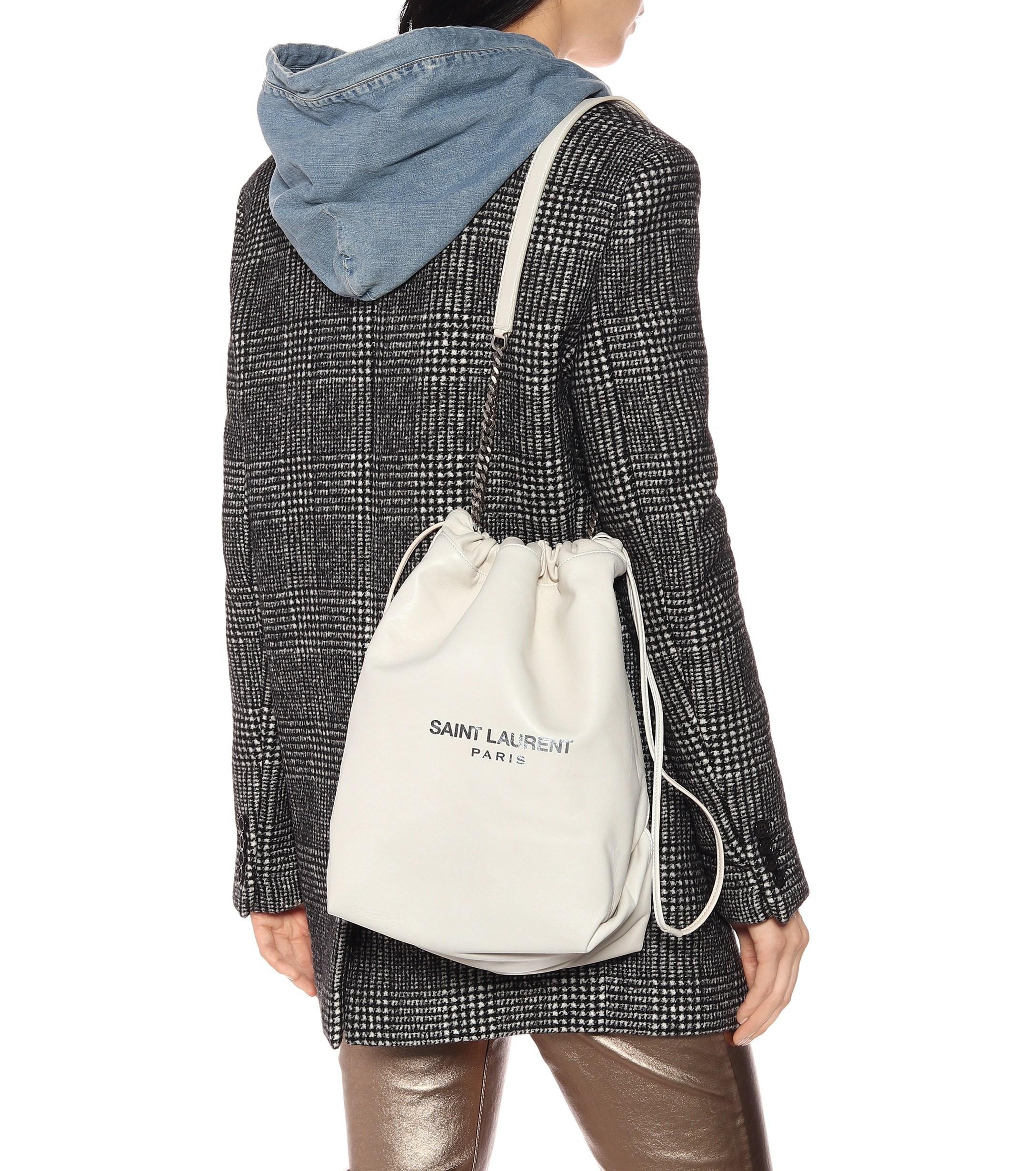 3b5bf2fcf7 Saint Laurent Teddy Leather Bucket Bag - Lyst