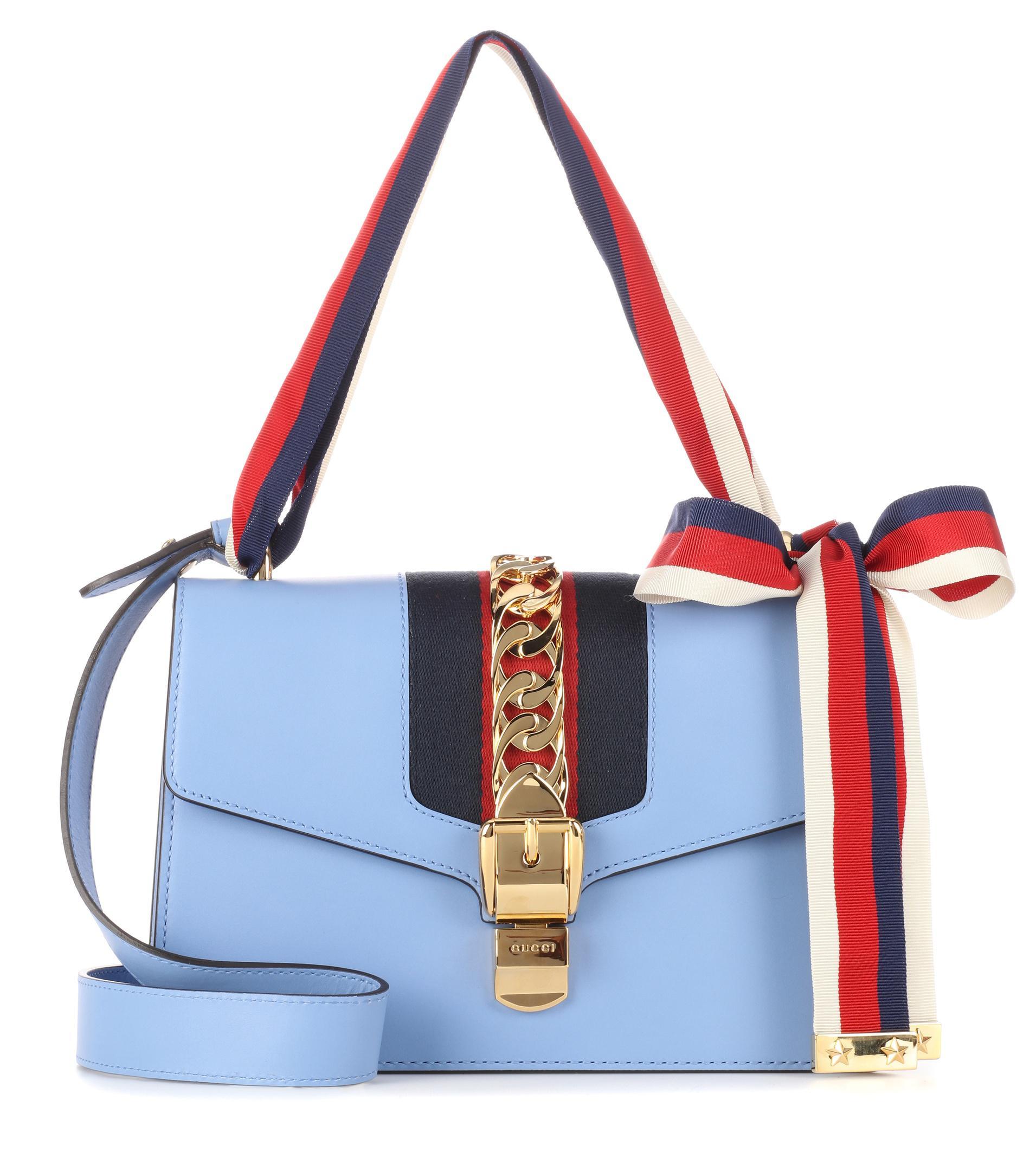 a50d9da6140 Lyst - Gucci  sylvie  Light Blue Shoulder Bag in Blue