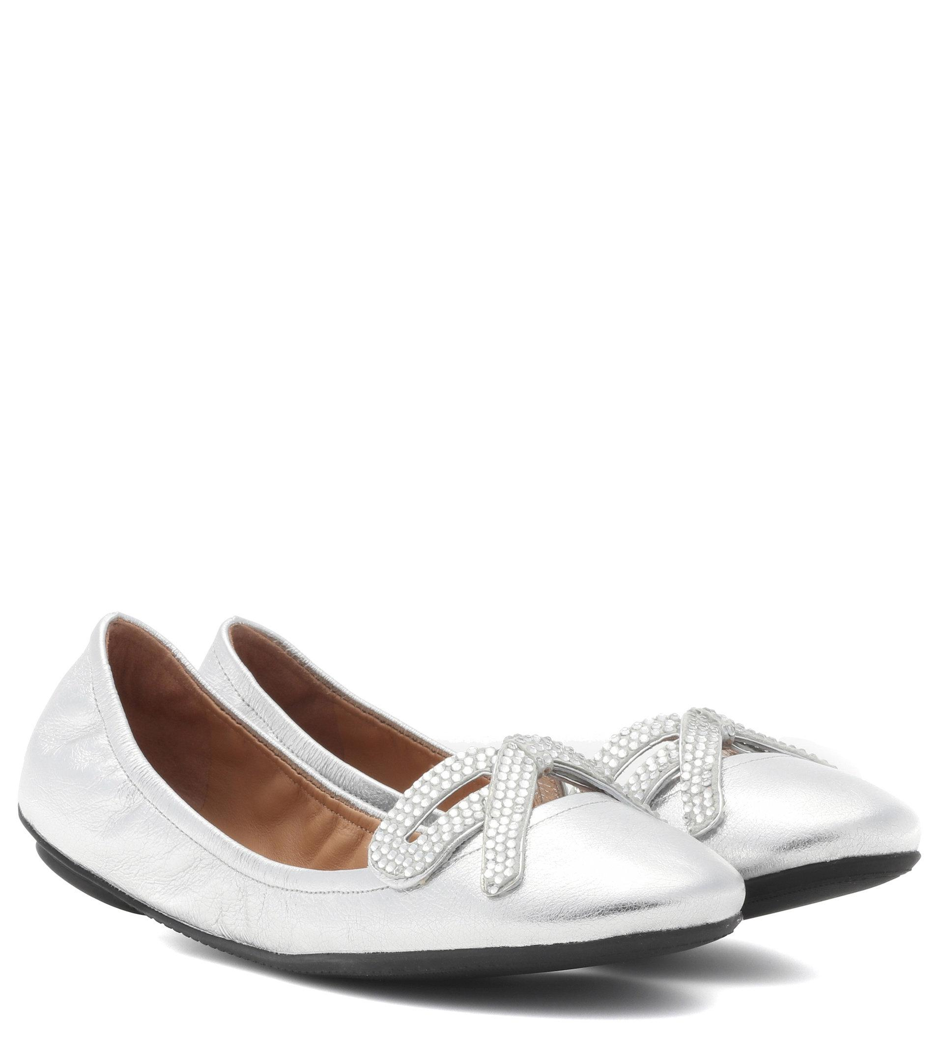 free shipping huge surprise outlet with credit card Marc Jacobs Metallic leather ballerinas very cheap discount real ER9Km