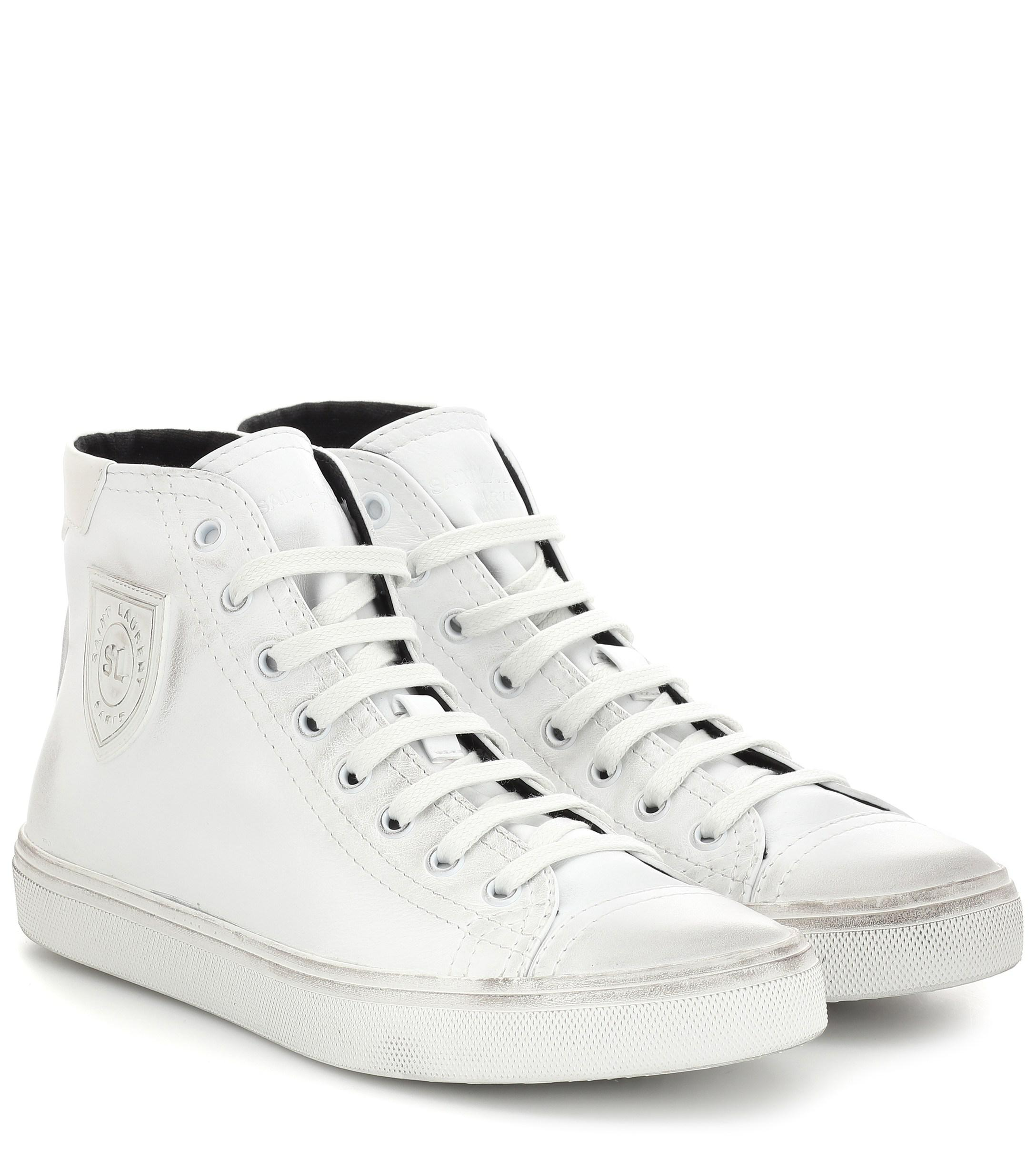 21004a70b752 Saint Laurent Bedford Leather High-top Sneakers in White - Lyst