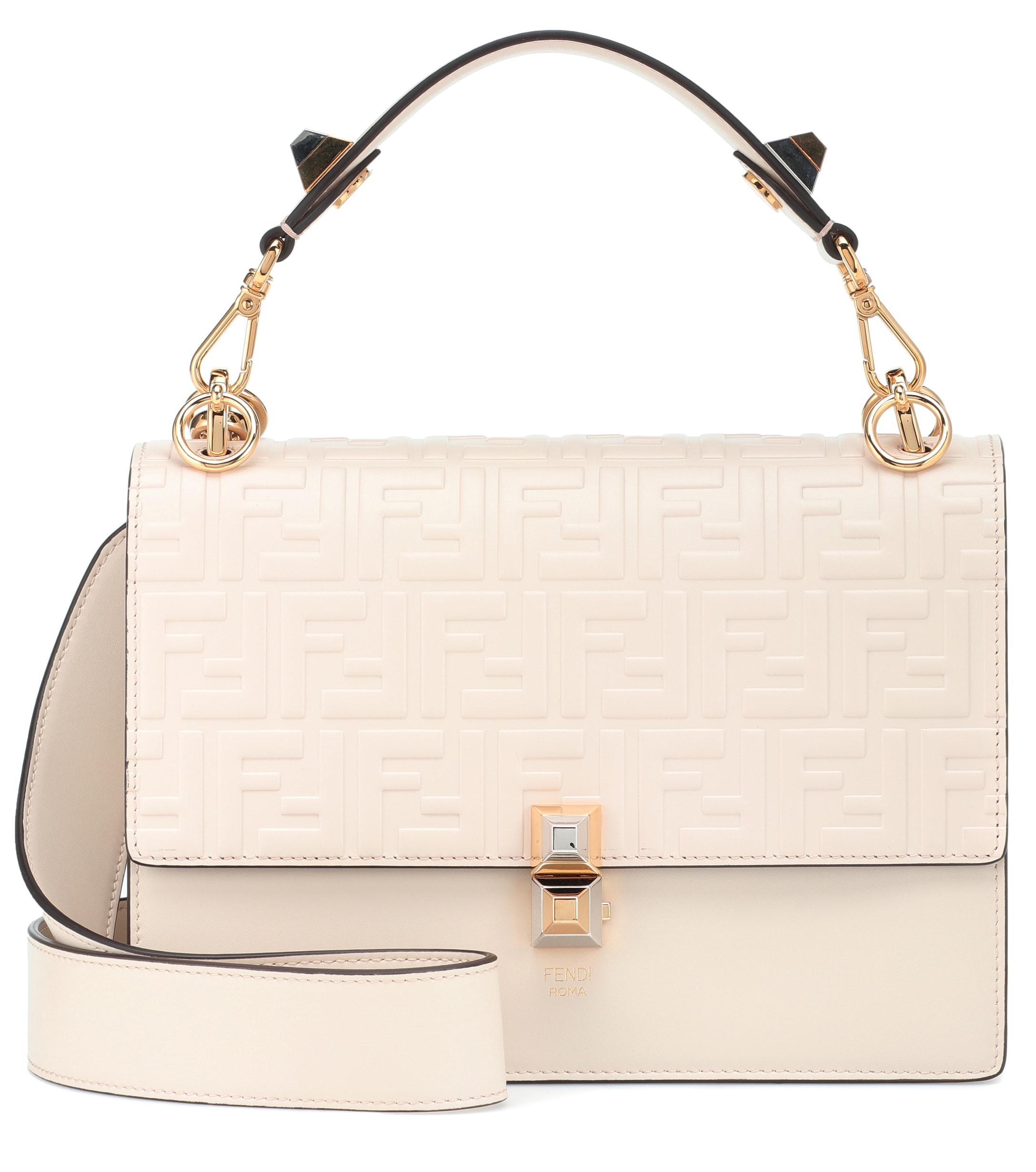 1ef49ad35c8 Fendi Kan I Medium Leather Shoulder Bag in Natural - Lyst