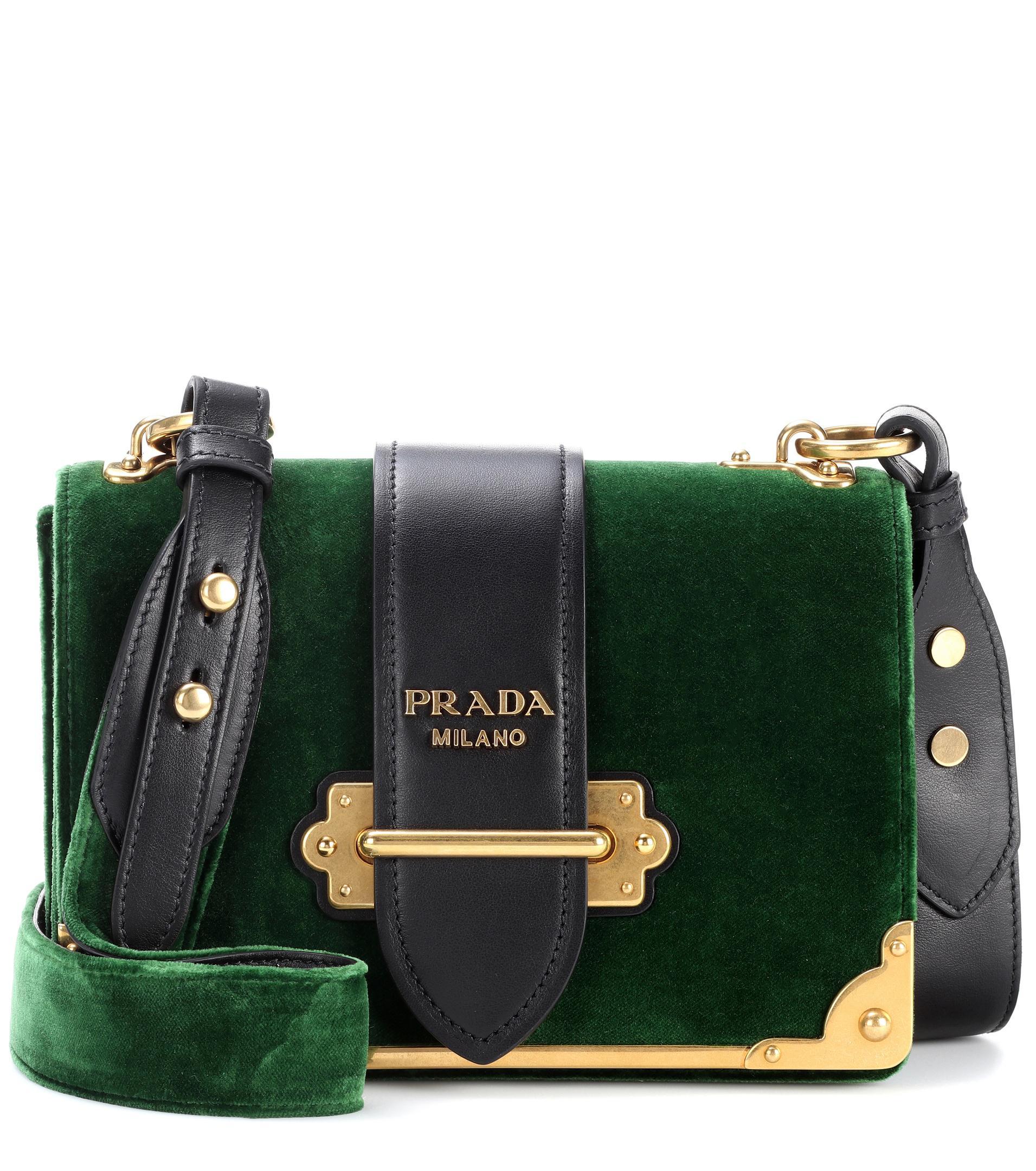 316964dc94177f ... cheap lyst prada cahier velvet shoulder bag in green 31267 61d6d ...