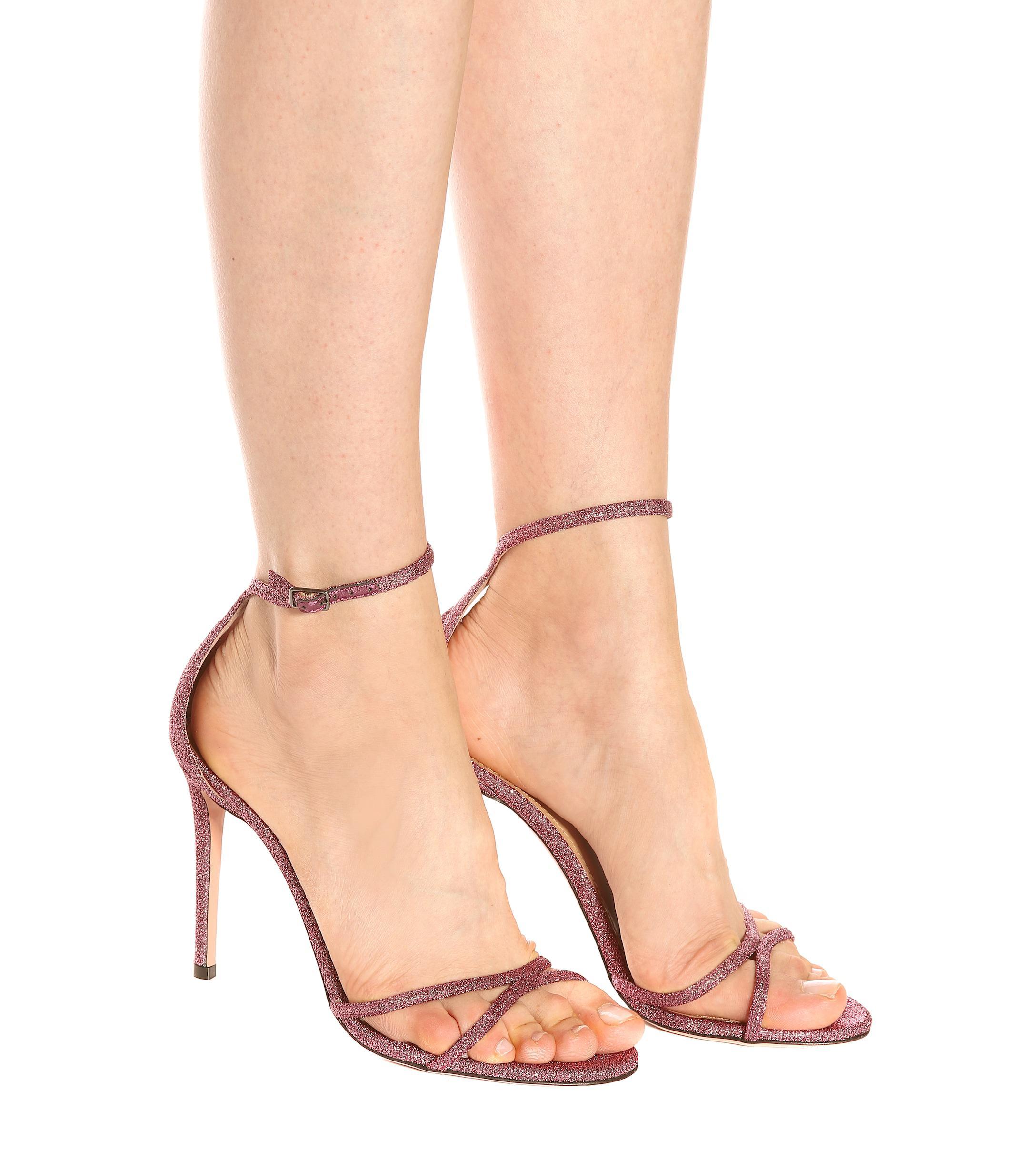 0d2675d86e97 Aquazzura - Pink Purist 105 Glitter Sandals - Lyst. View fullscreen