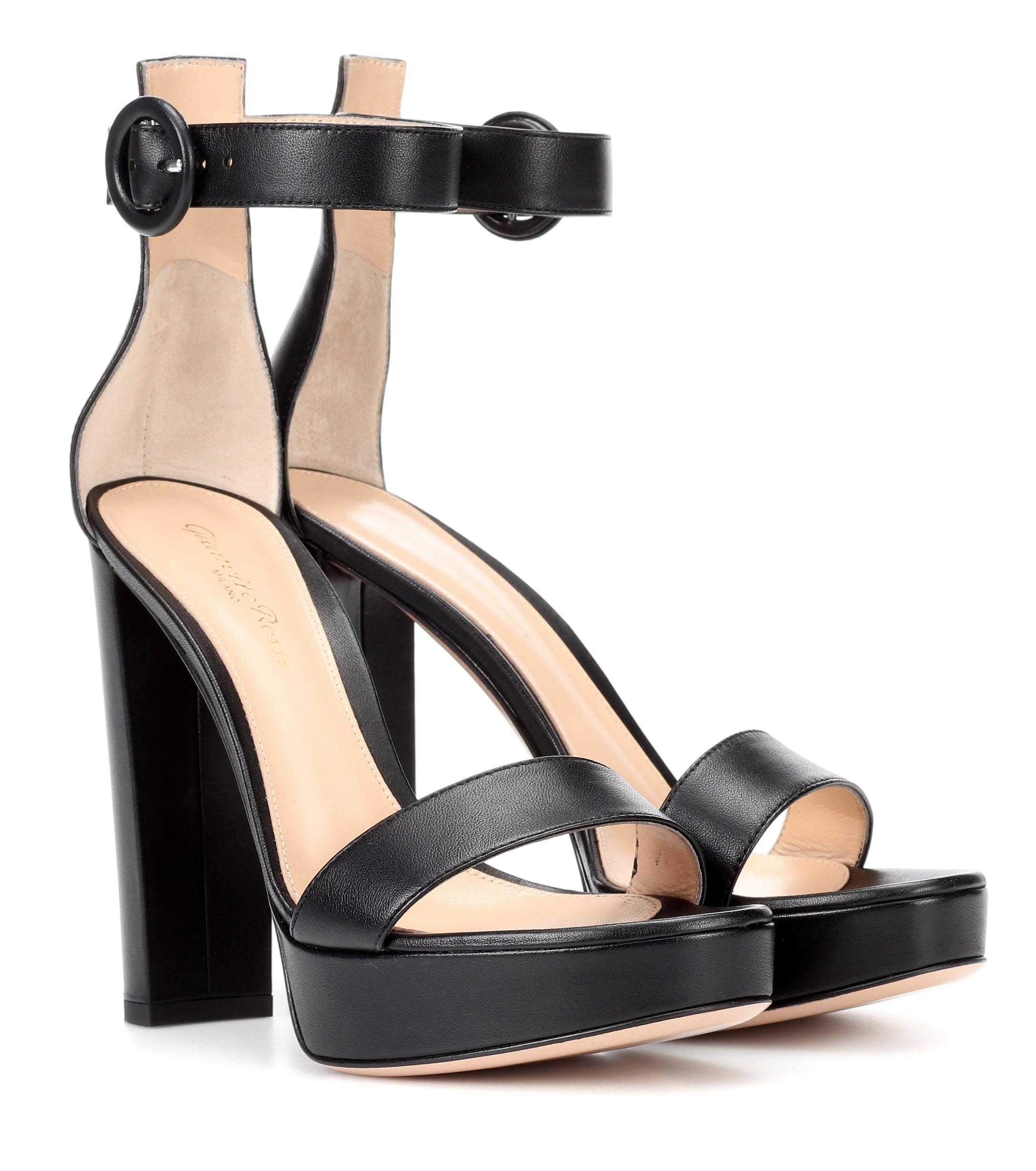 4f3bc9f548a Gianvito Rossi. Women s Black Exclusive To Mytheresa.com – Portofino  Plateau Leather Sandals