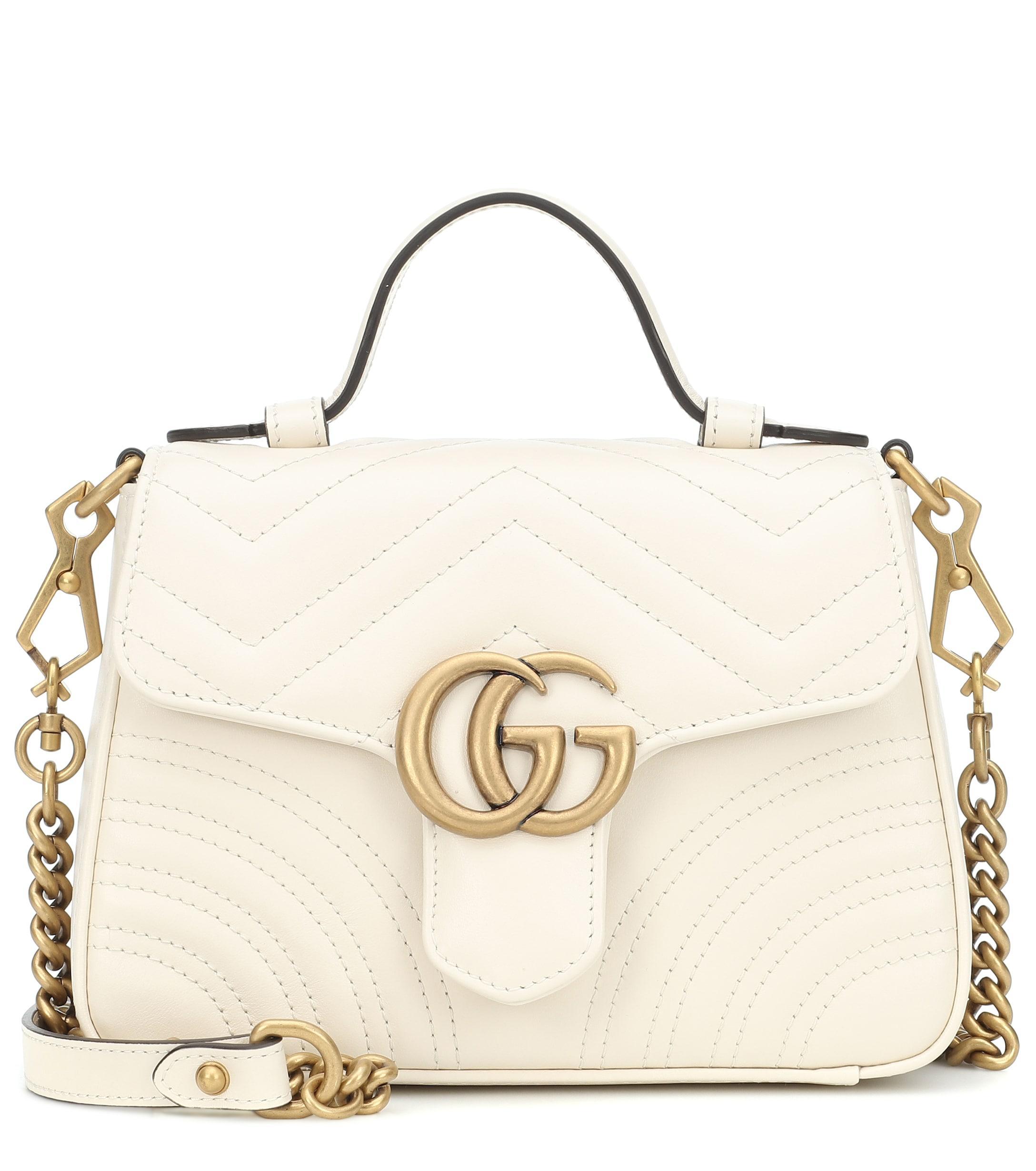 76cbed13832 Gucci GG Marmont Mini Shoulder Bag in White - Lyst
