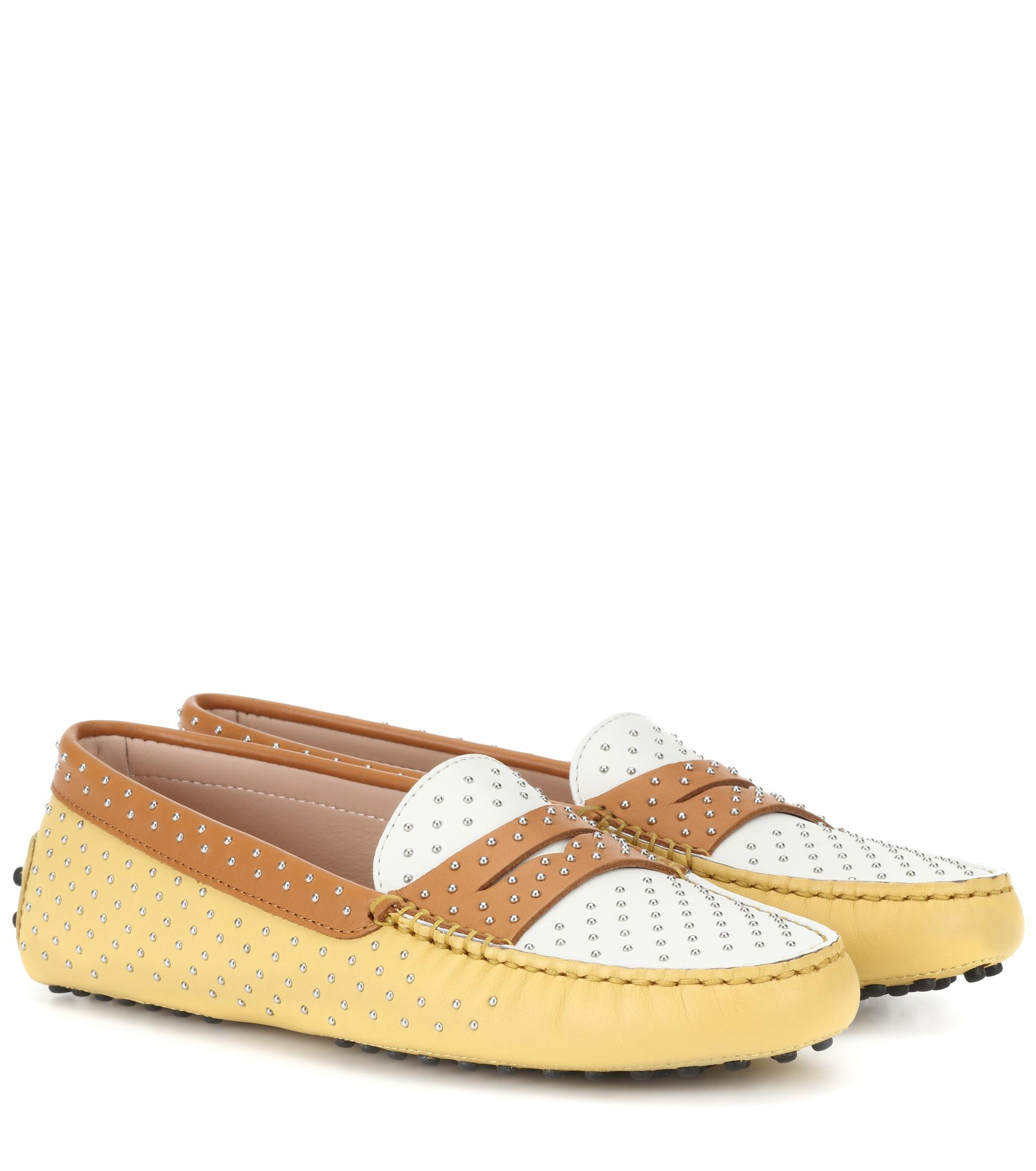 c8a3f033f22f Lyst - Tod s Gommino Studded Leather Loafers in Yellow