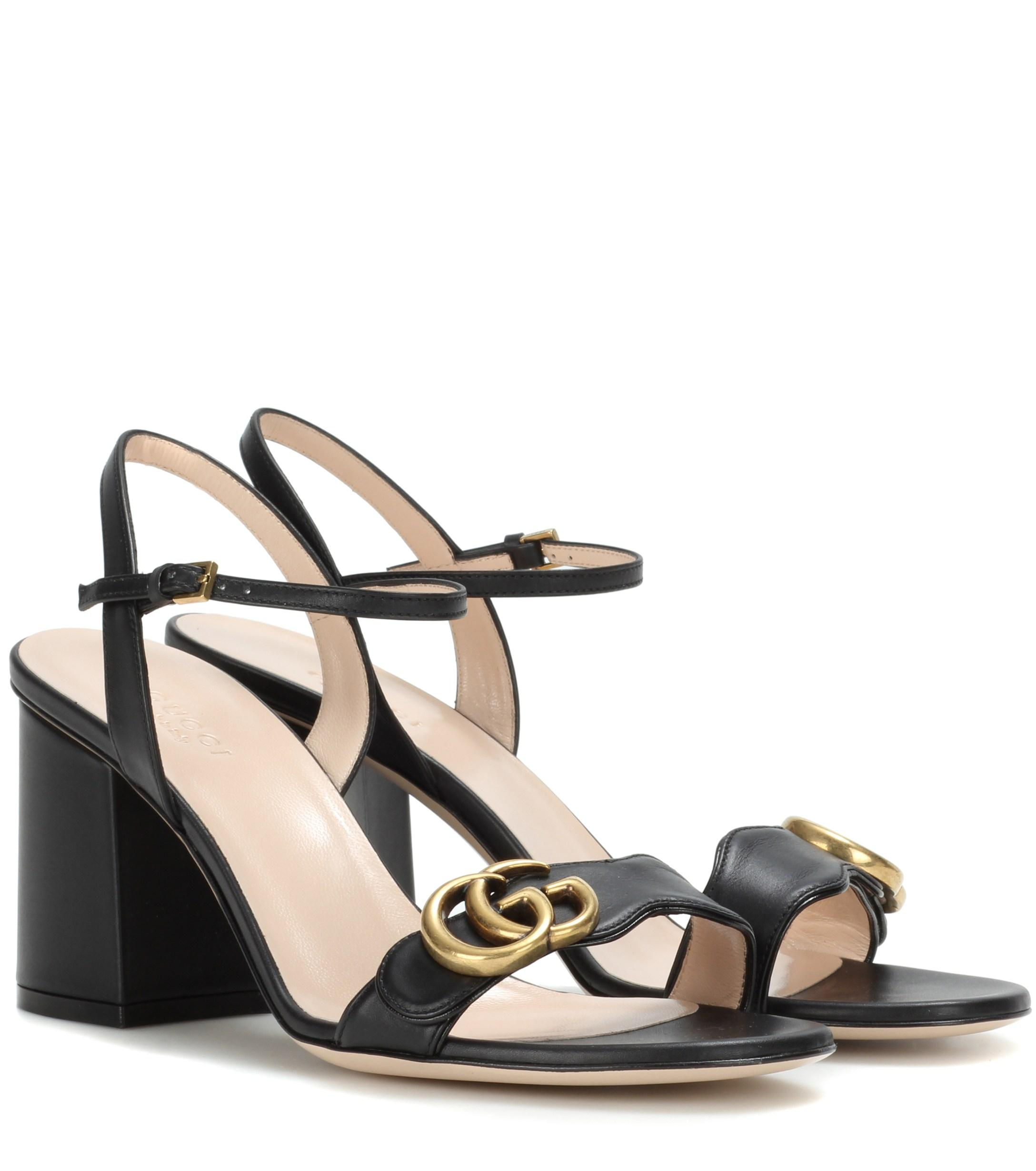 02583b46ce Gucci Leather Sandals in Black - Save 8% - Lyst