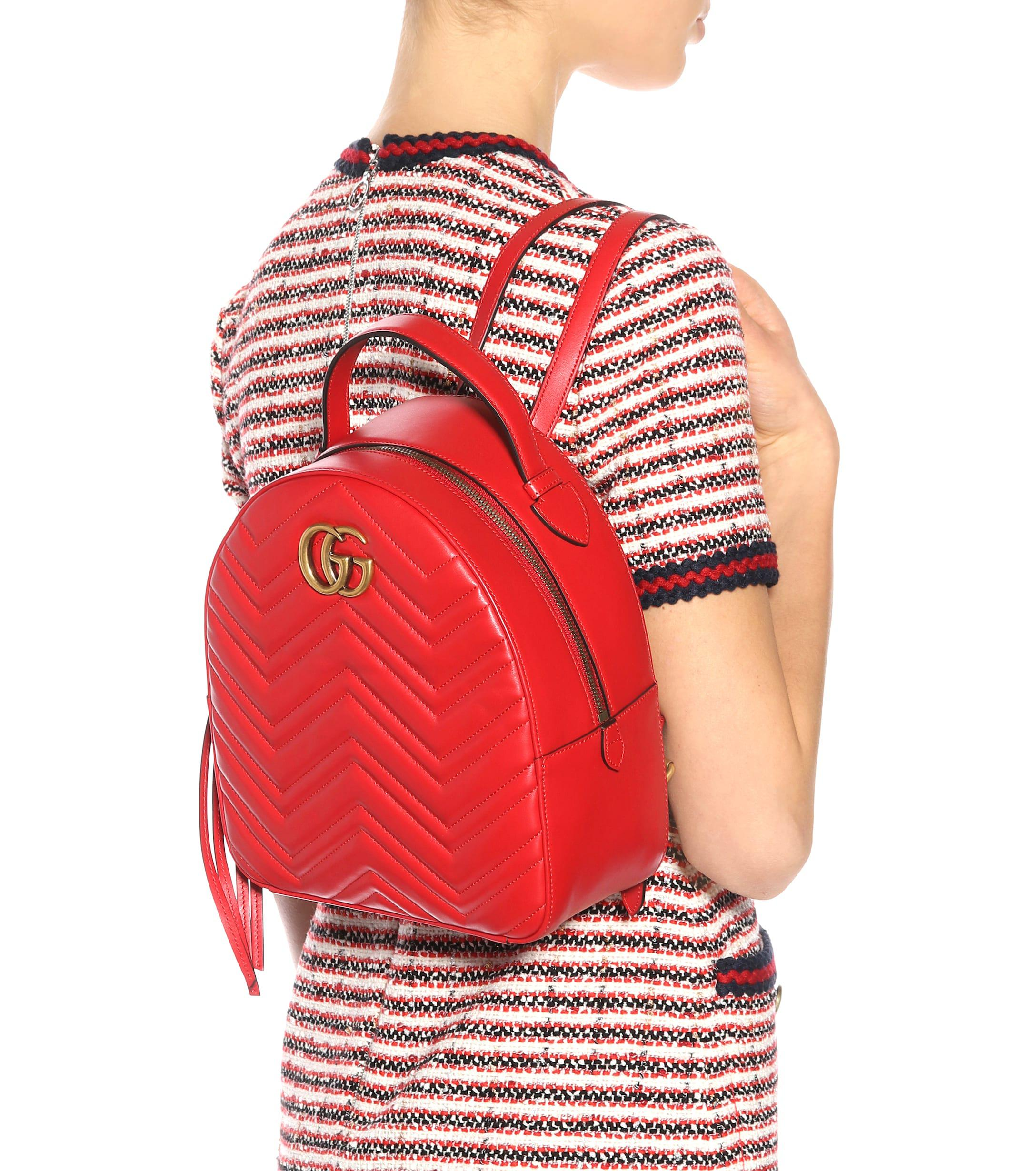 2cce89a21 Gucci - Red GG Marmont Matelassé Leather Backpack - Lyst. View fullscreen