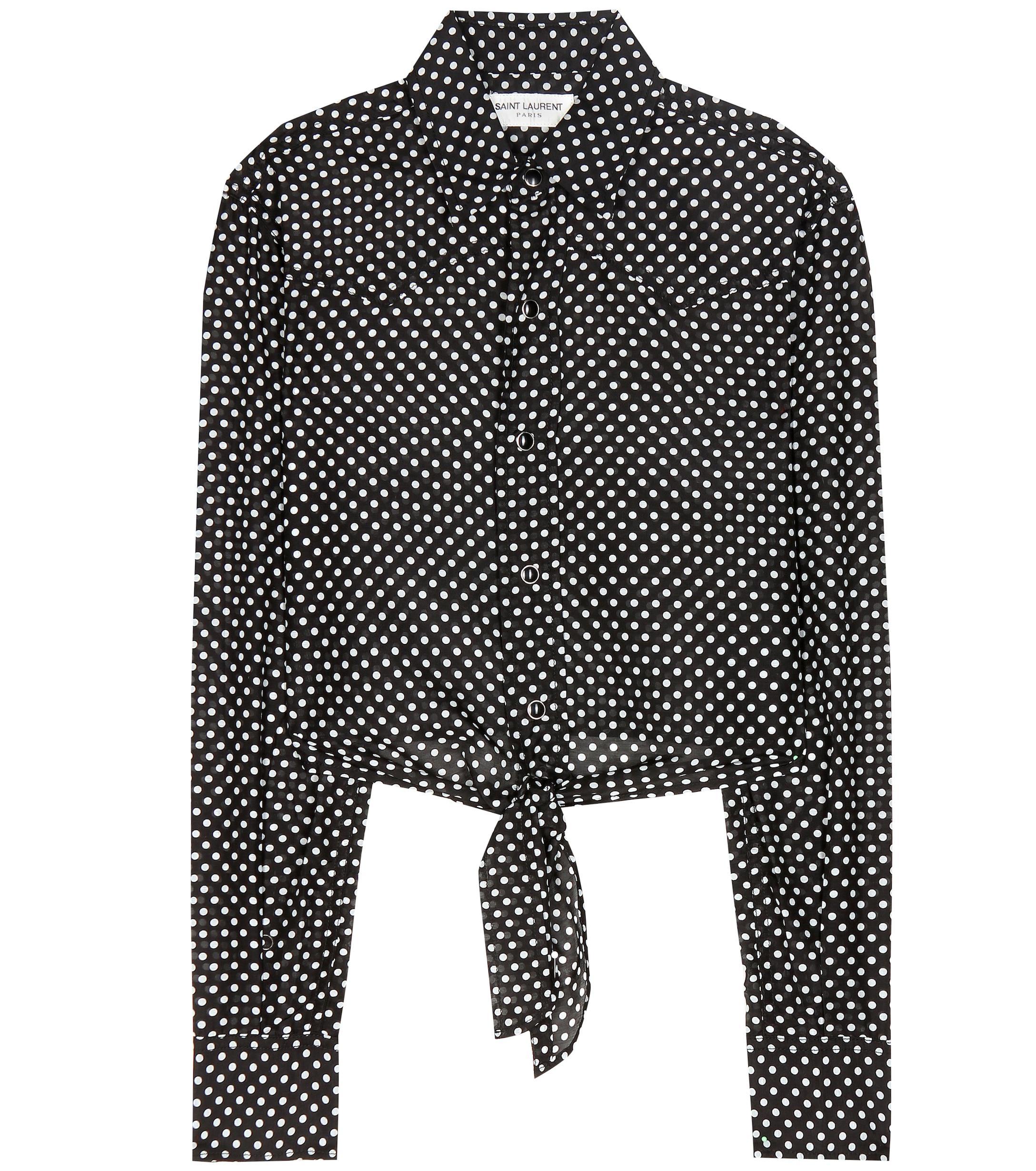 89271b18f9a99a Saint Laurent Cropped Polka-dot Shirt in Black - Lyst